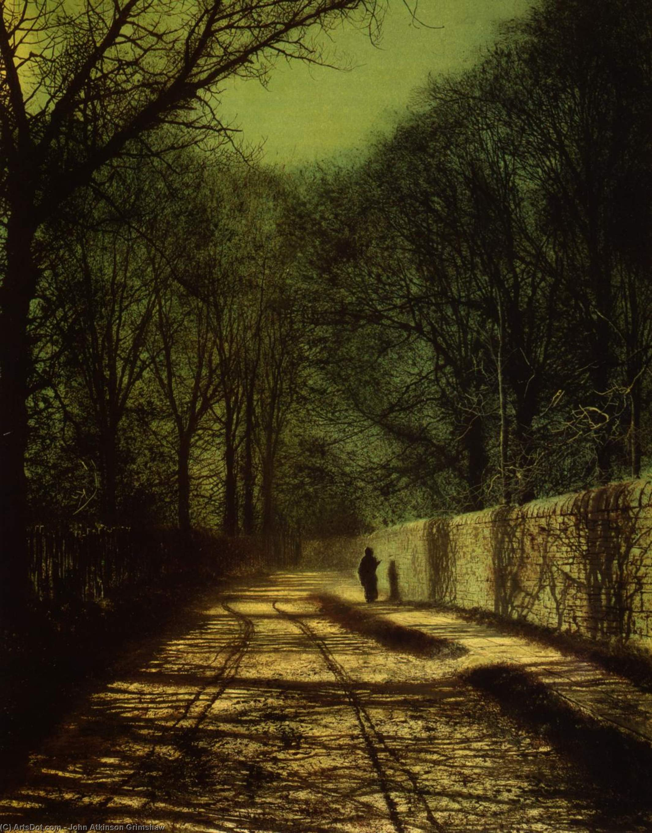 Tree Shadows on the Park Wall, Roundhay Park, Leeds by John Atkinson Grimshaw (1836-1893, United Kingdom)
