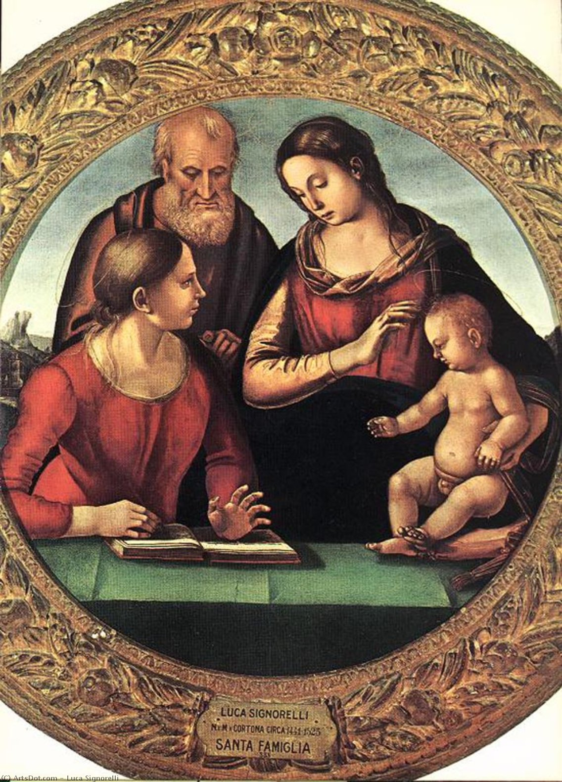 madonna and child with st joseph and another saint by Luca Signorelli (1445-1523, Italy)