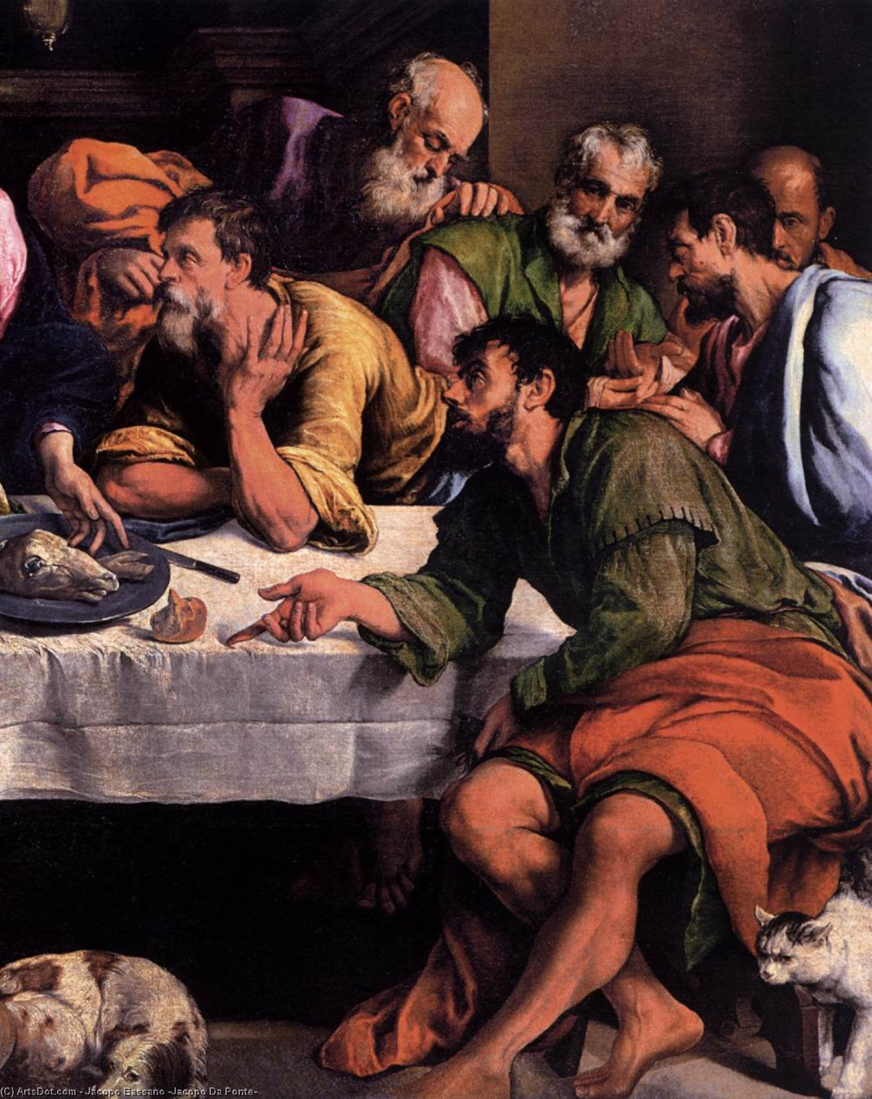 Order Paintings Reproductions | The last supper (detail)1 by Jacopo Bassano (Jacopo Da Ponte) (1510-1592, Italy) | ArtsDot.com