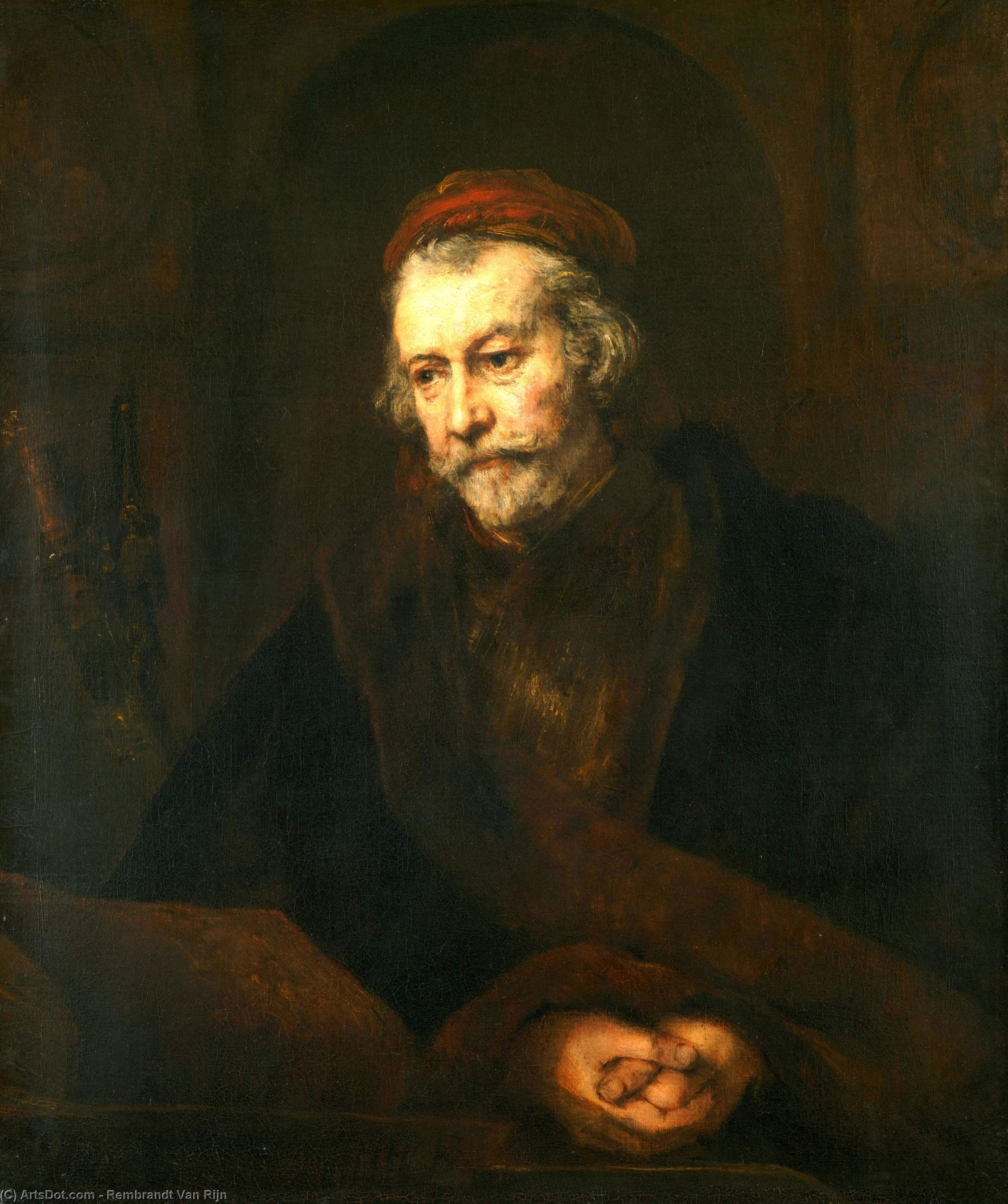 An Elderly Man as Saint Paul by Rembrandt Van Rijn (1606-1669, Netherlands) | Paintings Reproductions Rembrandt Van Rijn | ArtsDot.com