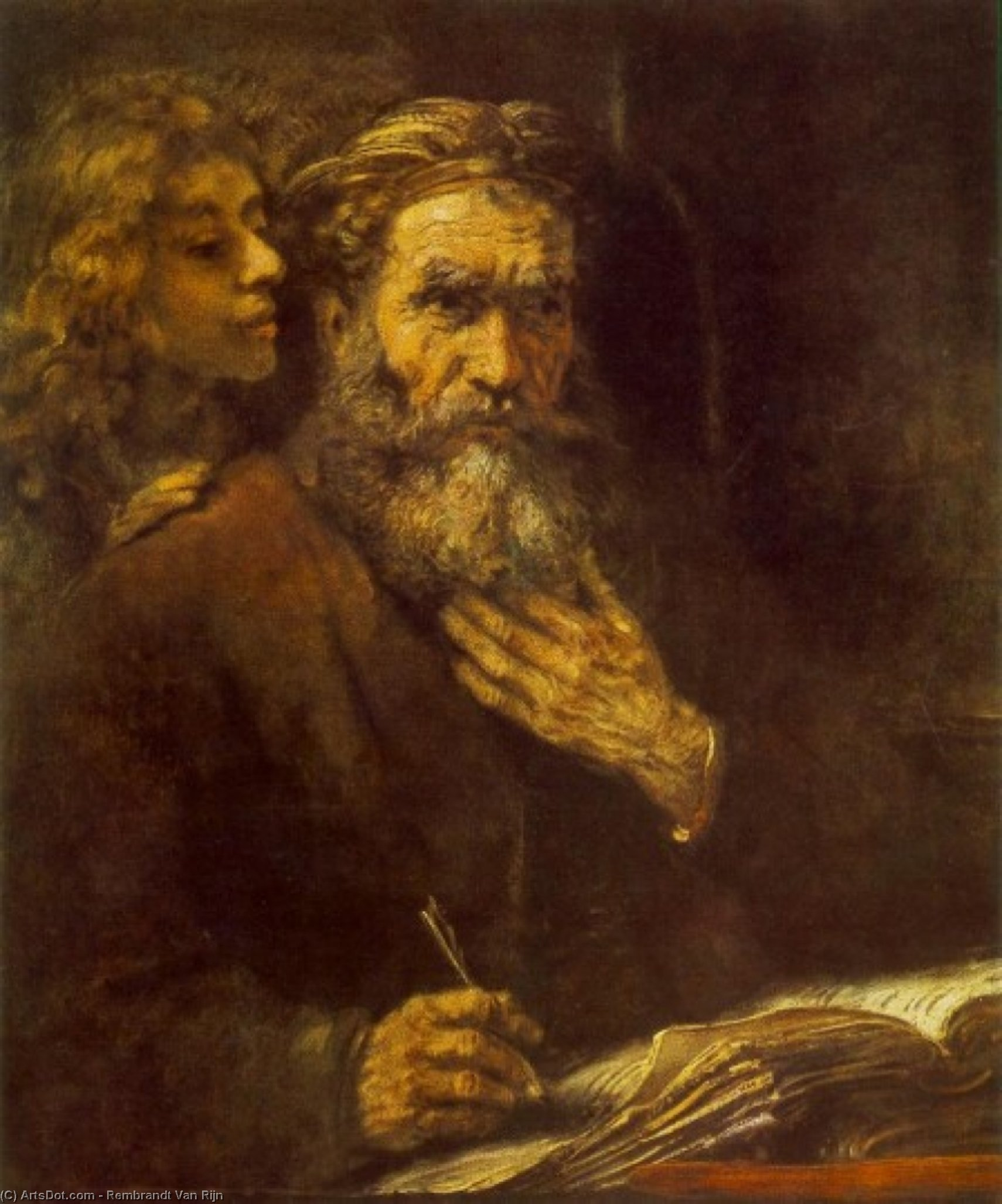 Order Paintings Reproductions | Evangelist Matthew and the Angel by Rembrandt Van Rijn (1606-1669, Netherlands) | ArtsDot.com