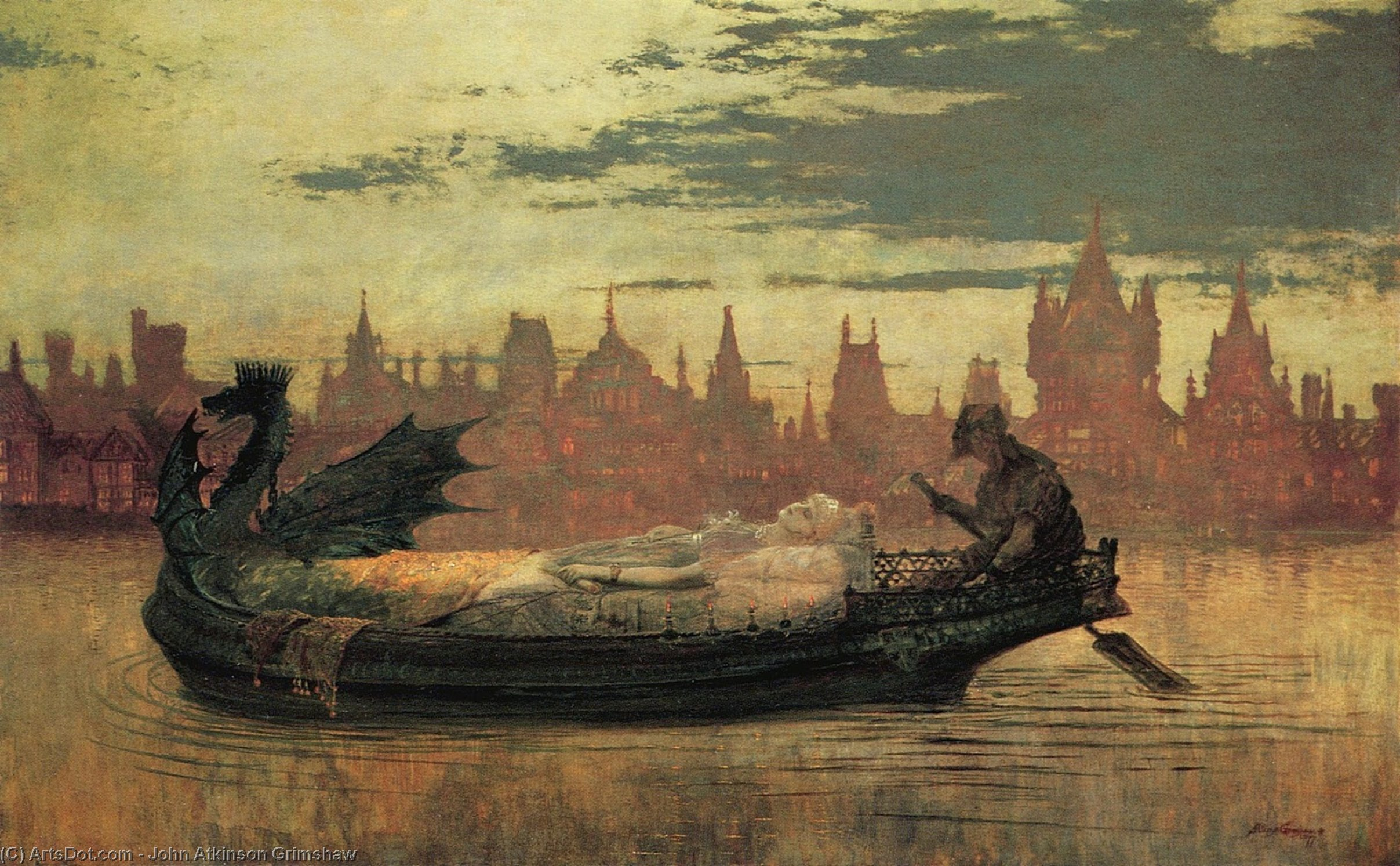 Elaine1 AMK by John Atkinson Grimshaw (1836-1893, United Kingdom) | Museum Art Reproductions | ArtsDot.com