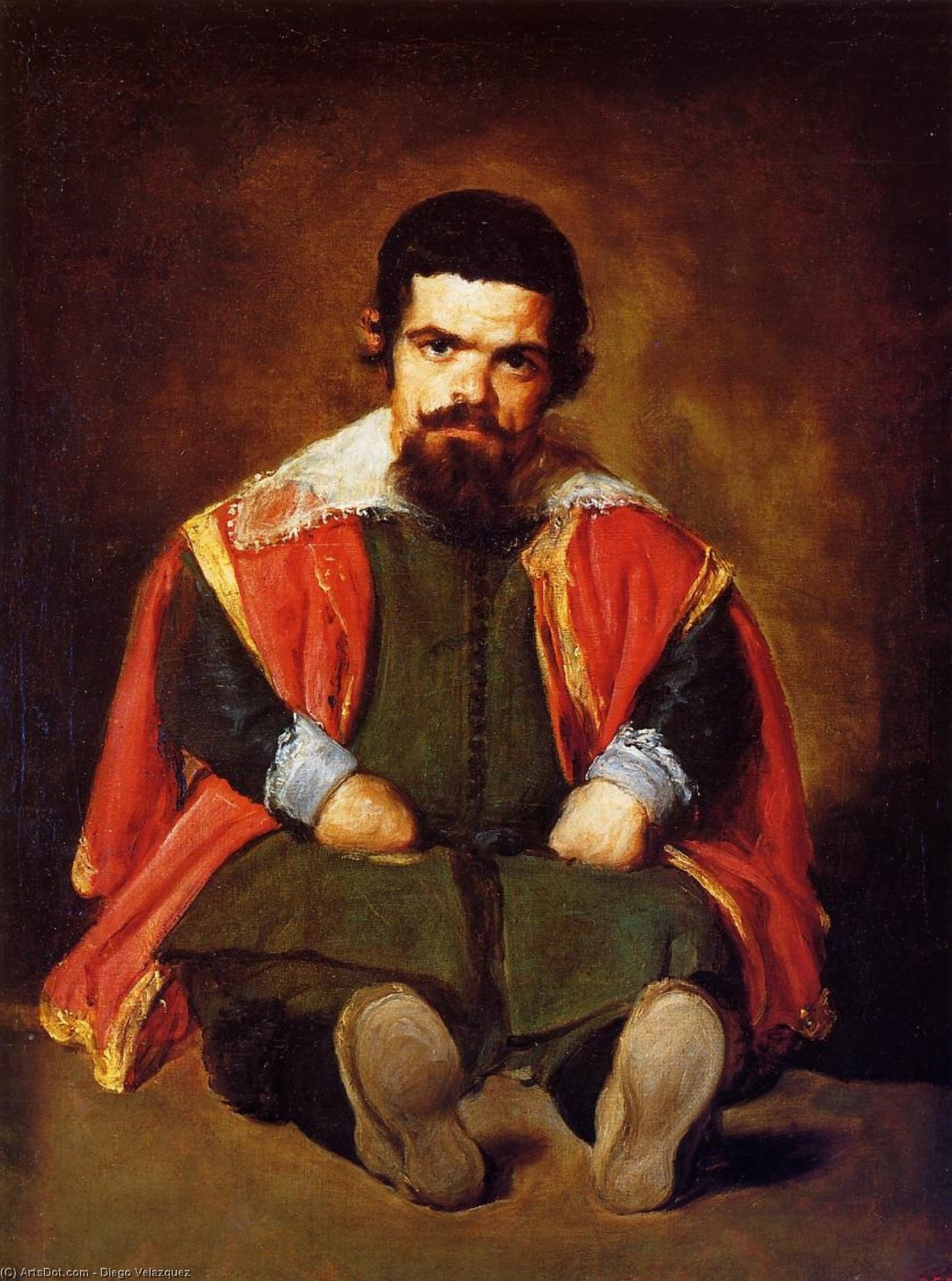 A Dwarf Sitting on the Floor (Sebastian de Morra) by Diego Velazquez (1599-1660, Spain)