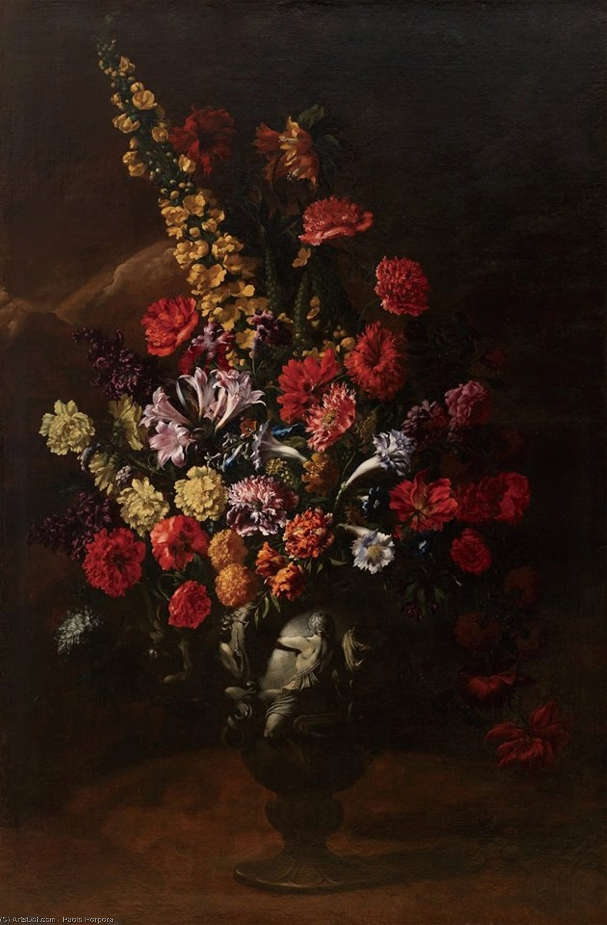 Flowers, Oil On Canvas by Paolo Porpora (1617-1673, Italy)
