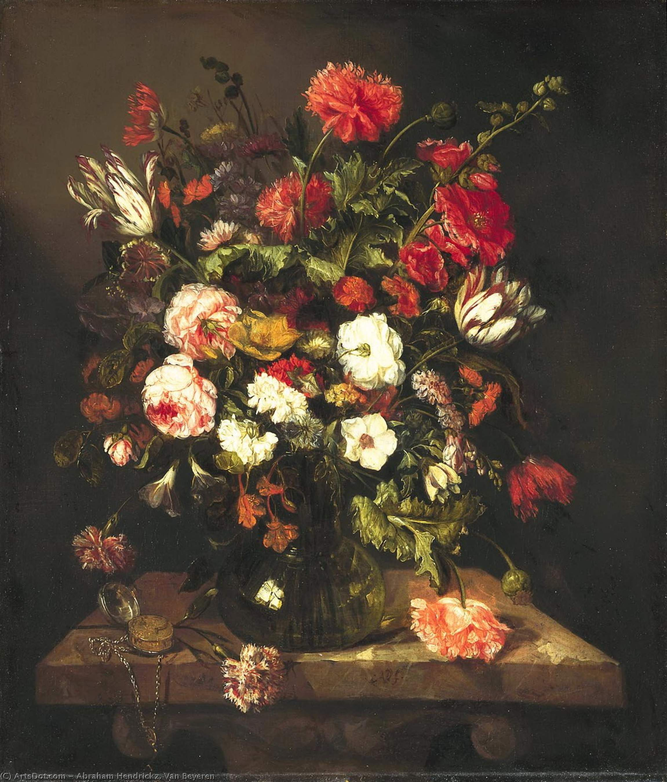 Bouquet of flowers in a glass vase (ok.1663-1665) (80 x 69) (The Hague, the Royal Gallery) by Abraham Hendrickz. Van Beyeren