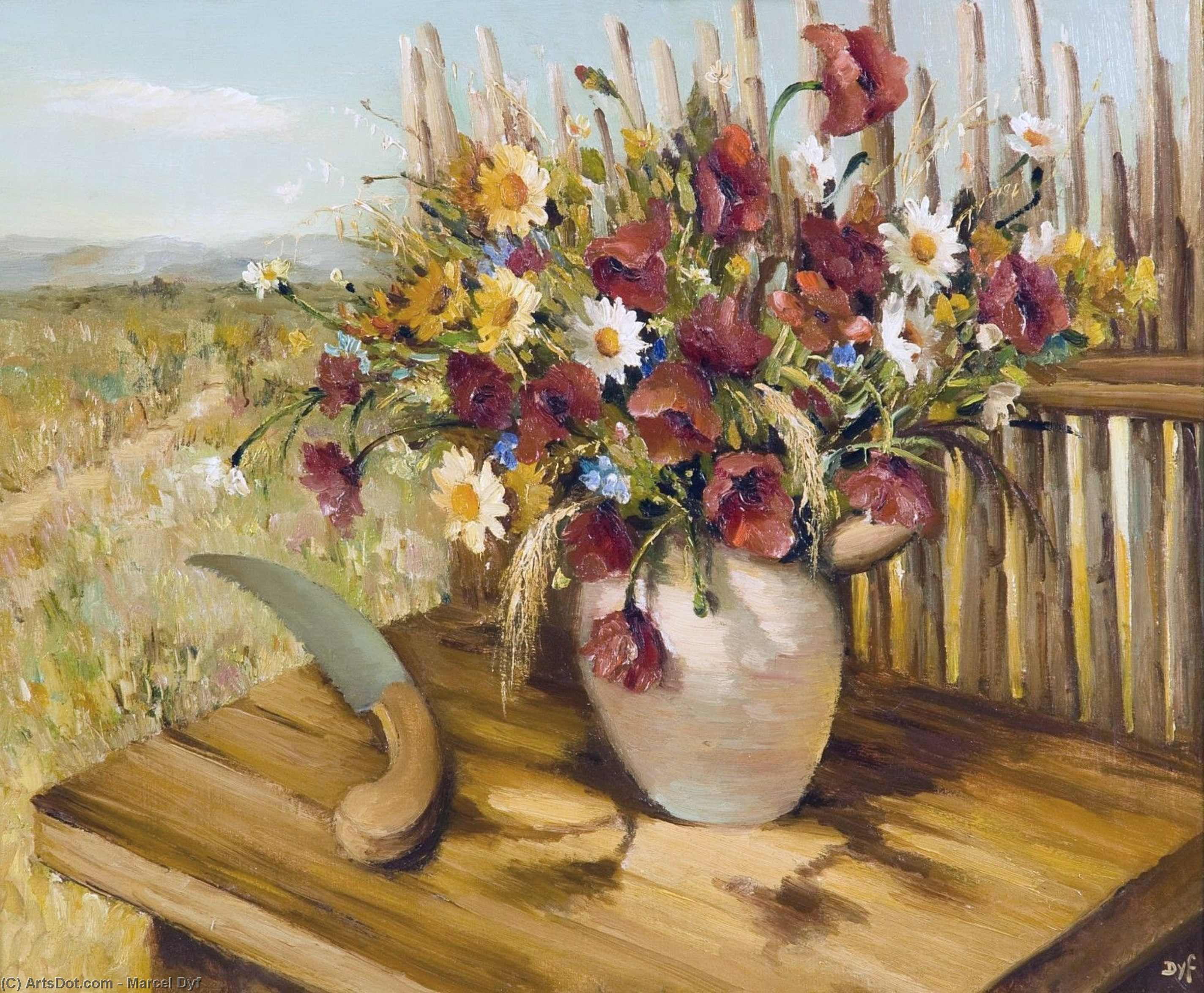 Bouquet of Flowers on the Landscape, (1935) by Marcel Dyf (1899-1985, France)