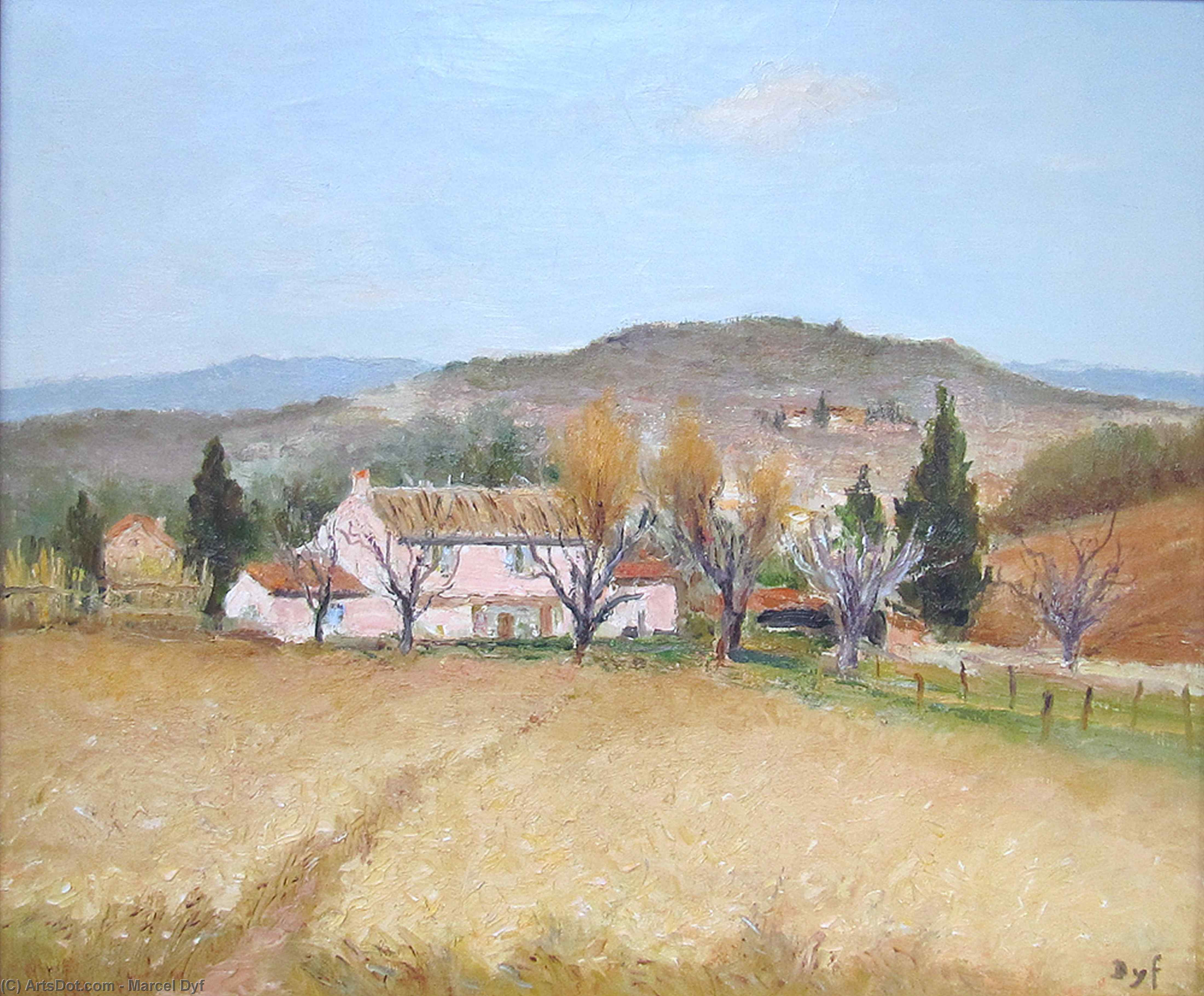 Pink House in Provence by Marcel Dyf (1899-1985, France)