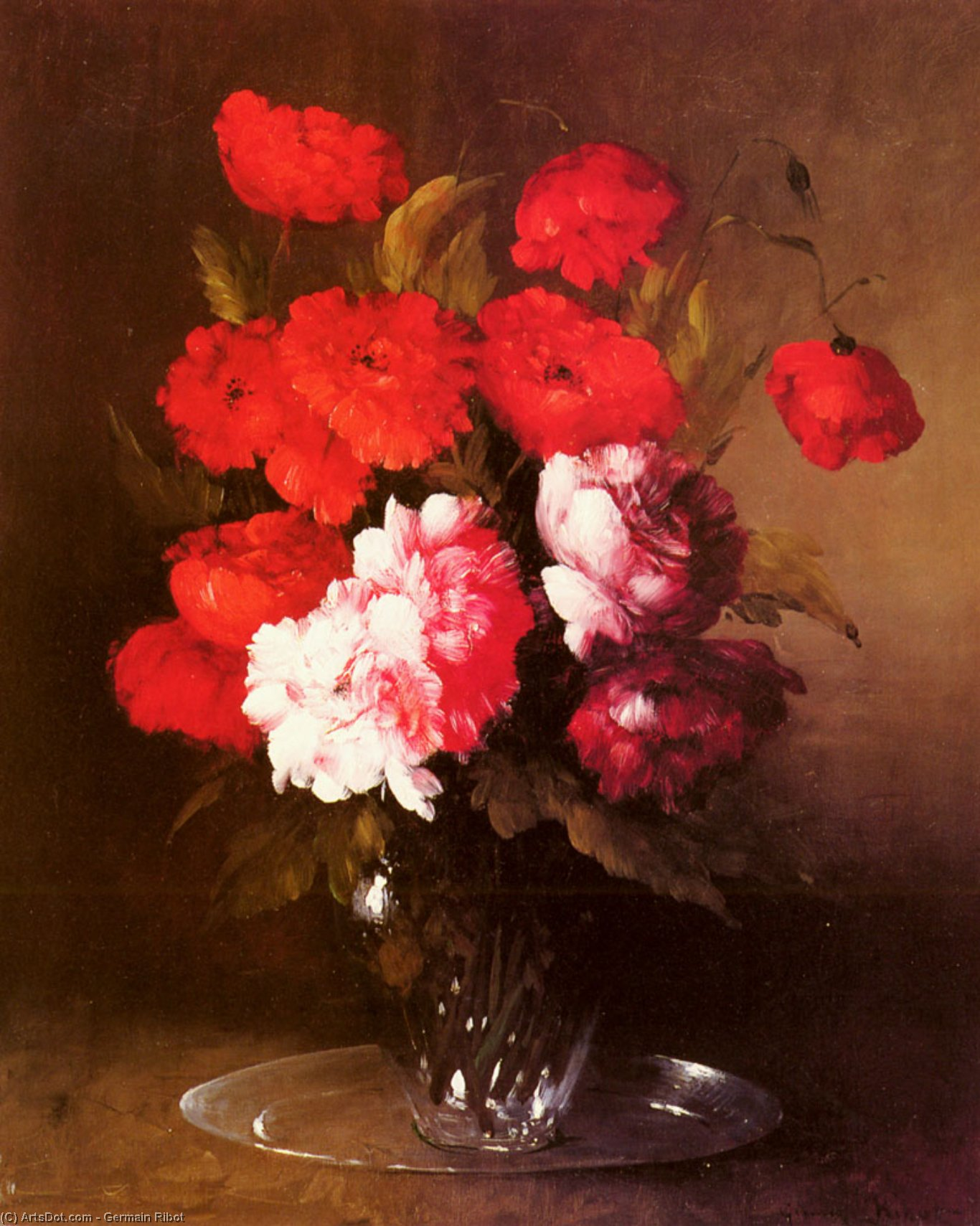 Pink Peonies and Poppies in a Glass Vase by Germain Ribot | Art Reproduction | ArtsDot.com
