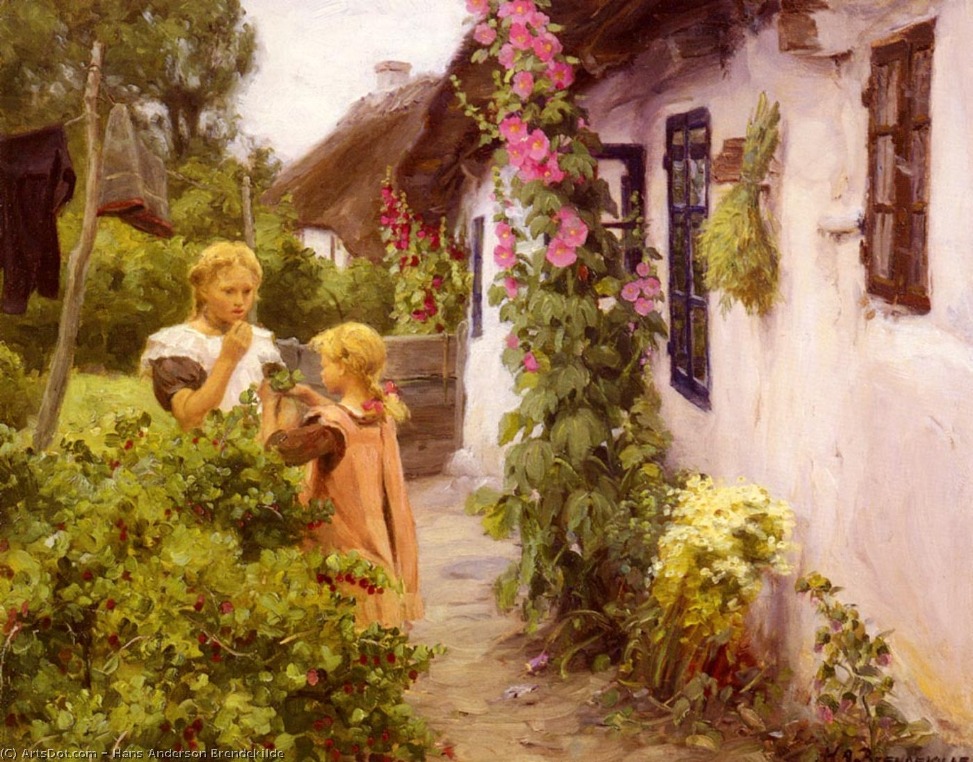 The cottage garden by Hans Andersen Brendekilde | ArtsDot.com