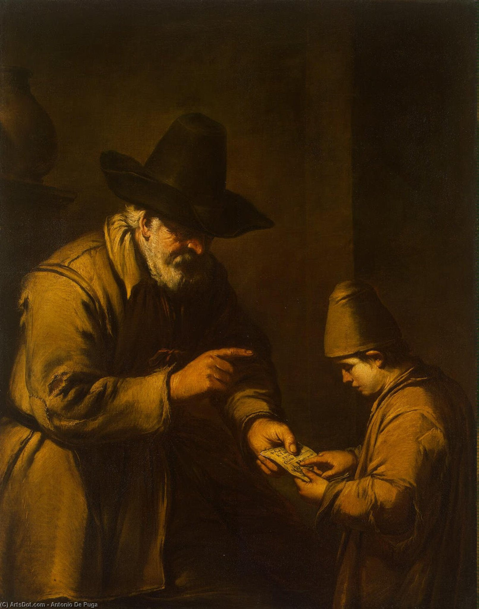 Old man teaching a child to read by Antonio De Puga (1602-1648, Spain)