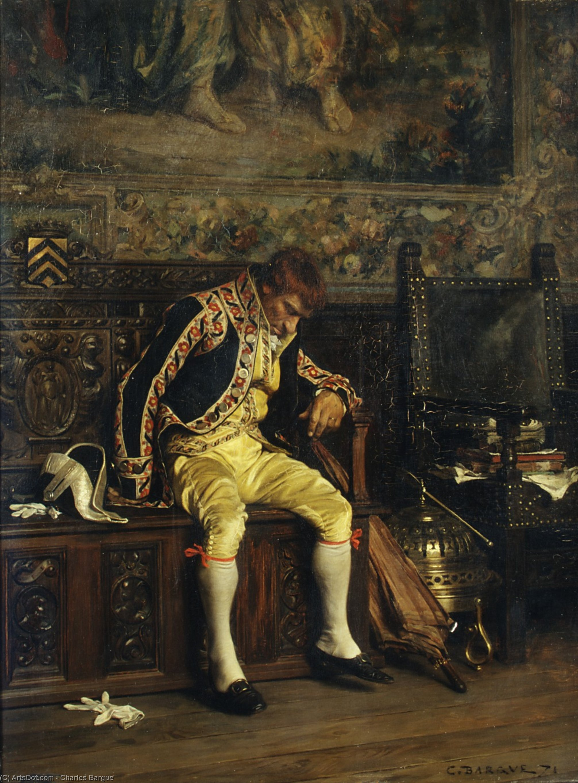A footman sleeping (1871) by Charles Bargue (1826-1883, France)