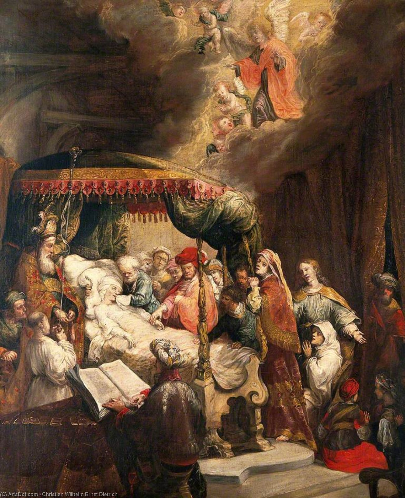 Order Art Reproductions | The Dormition of the Virgin by Christian Wilhelm Ernst Dietrich Dietrich (1712-1774) | ArtsDot.com