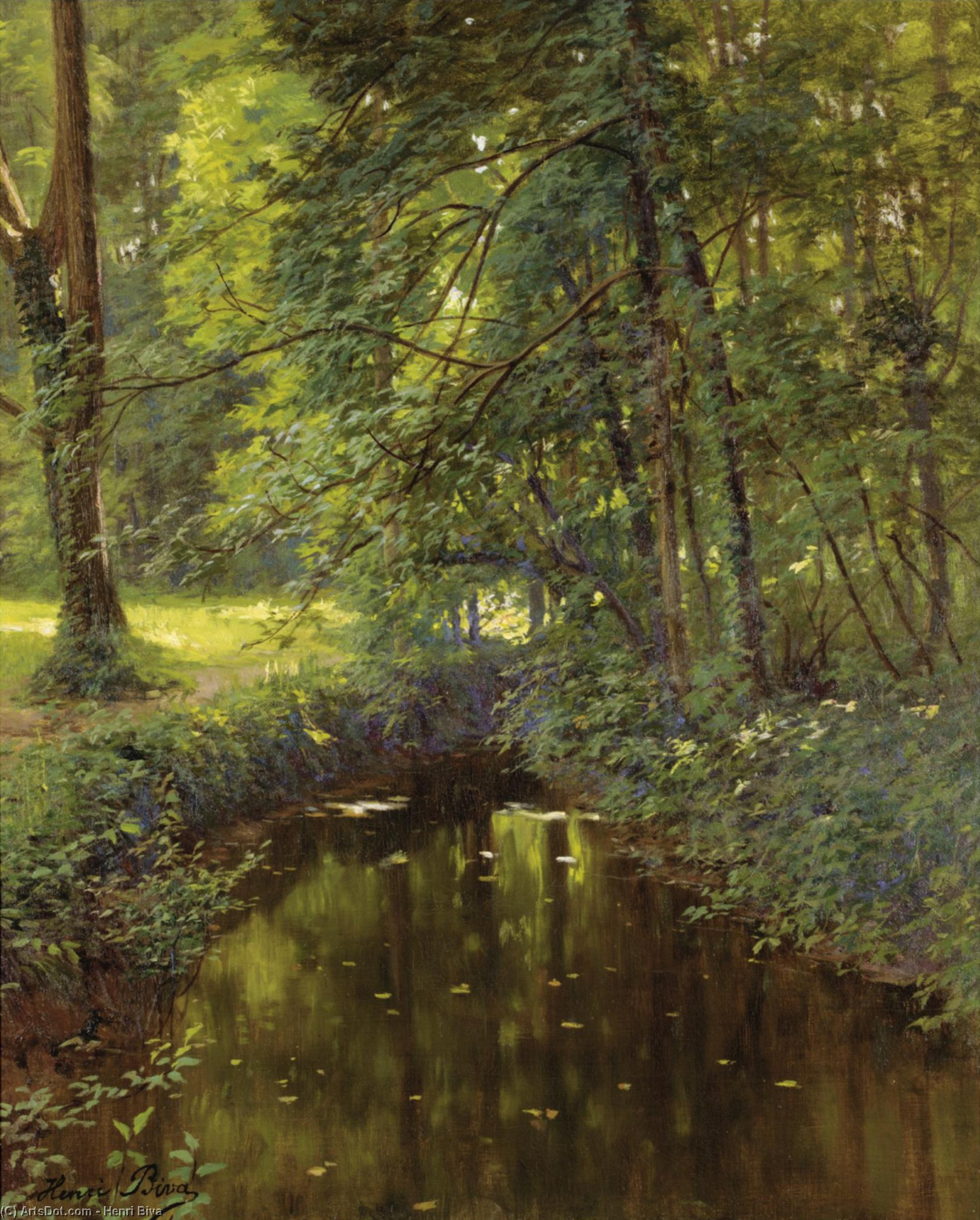 The river by Henri Biva (1848-1929, France)