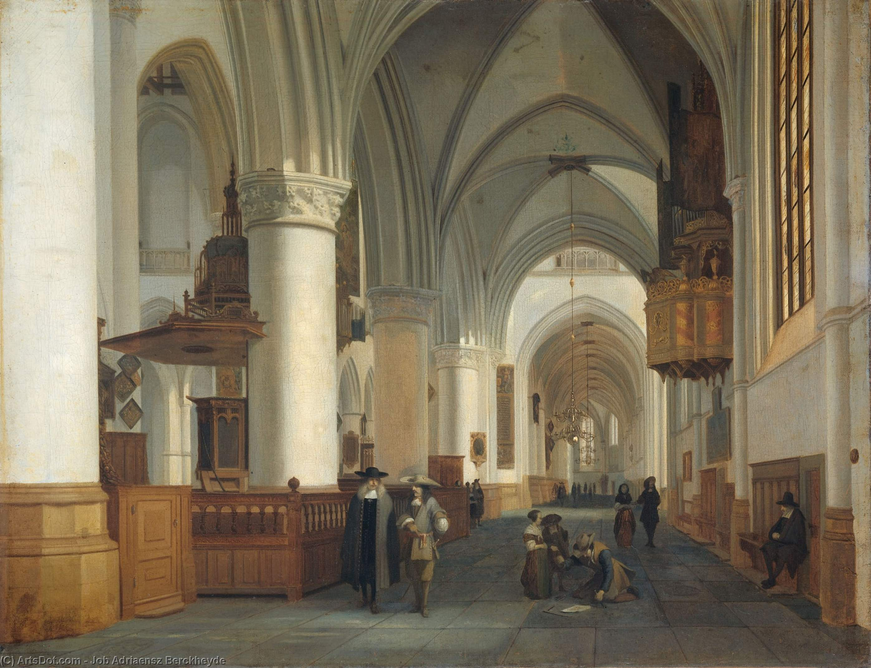 Interior of the Sint Bavokerk in Haarlem by Job Adriaensz Berckheyde (1630-1698, Netherlands)