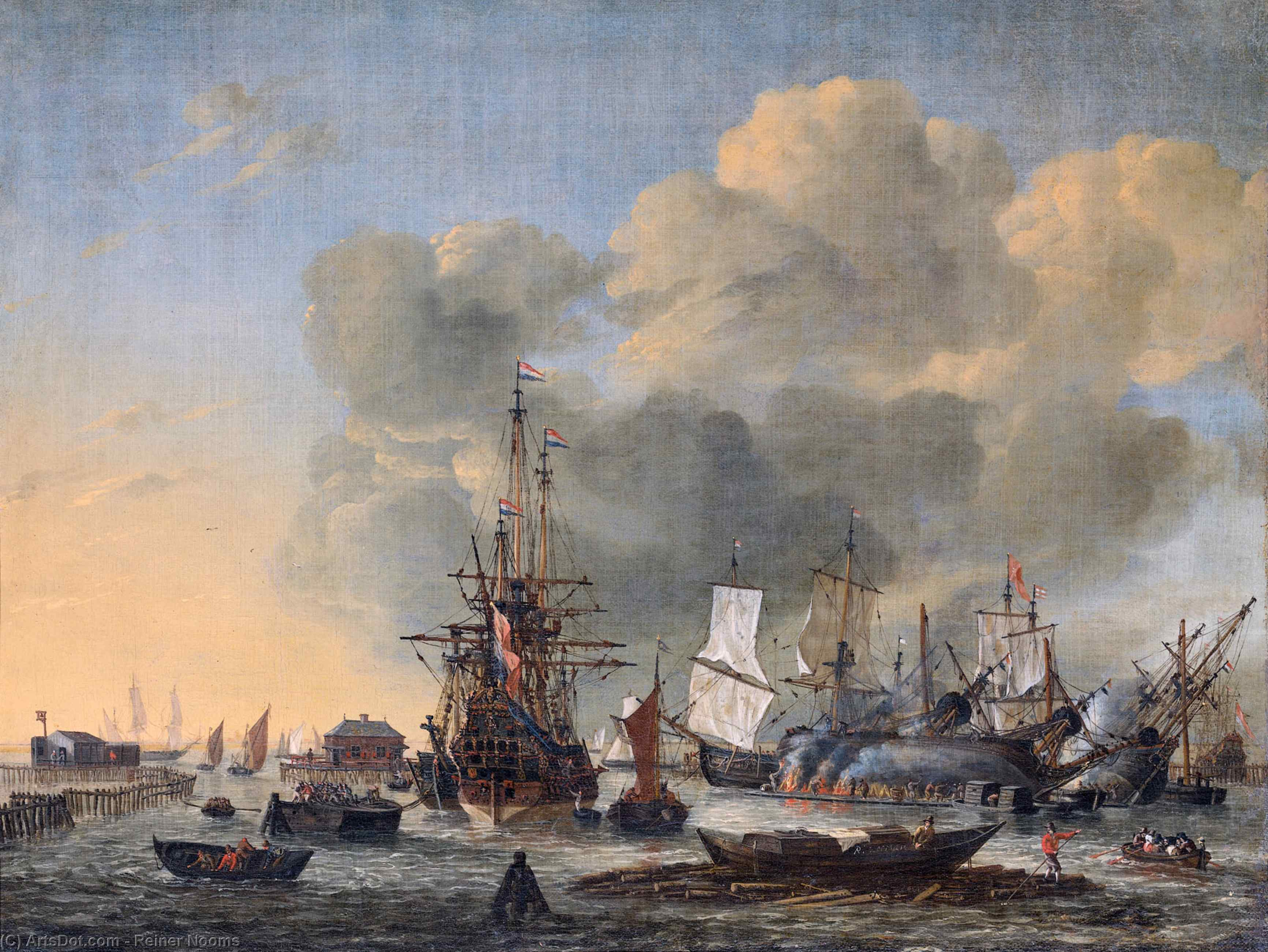 Caulking ships at the Bothuisje (flounder shed) on the Y at Amsterdam by Reiner Nooms (1623-1667, Netherlands) | Museum Quality Reproductions | ArtsDot.com