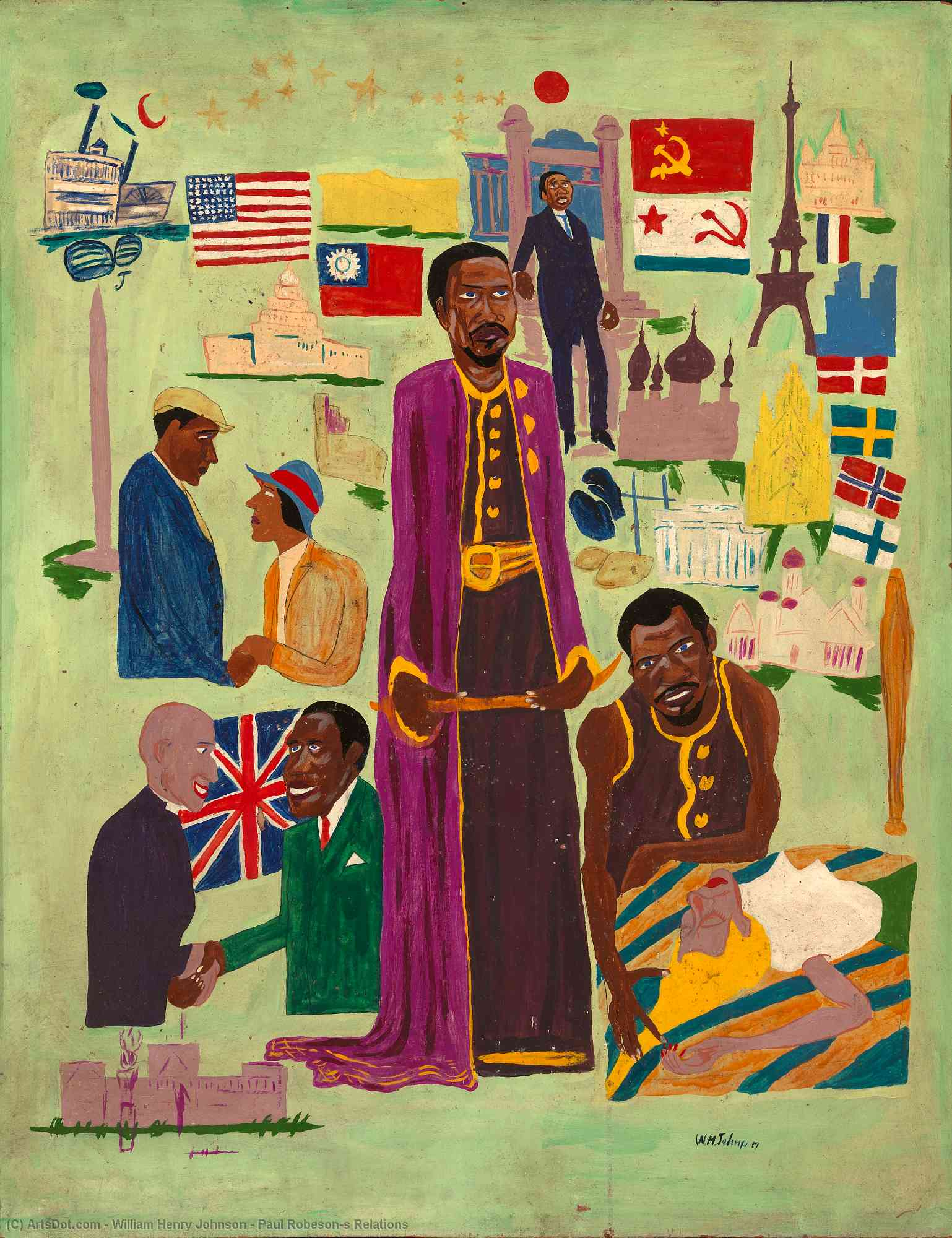 Paul Robeson`s Relations, 1945 by William Henry Johnson (1901-1970, United States) | Painting Copy | ArtsDot.com