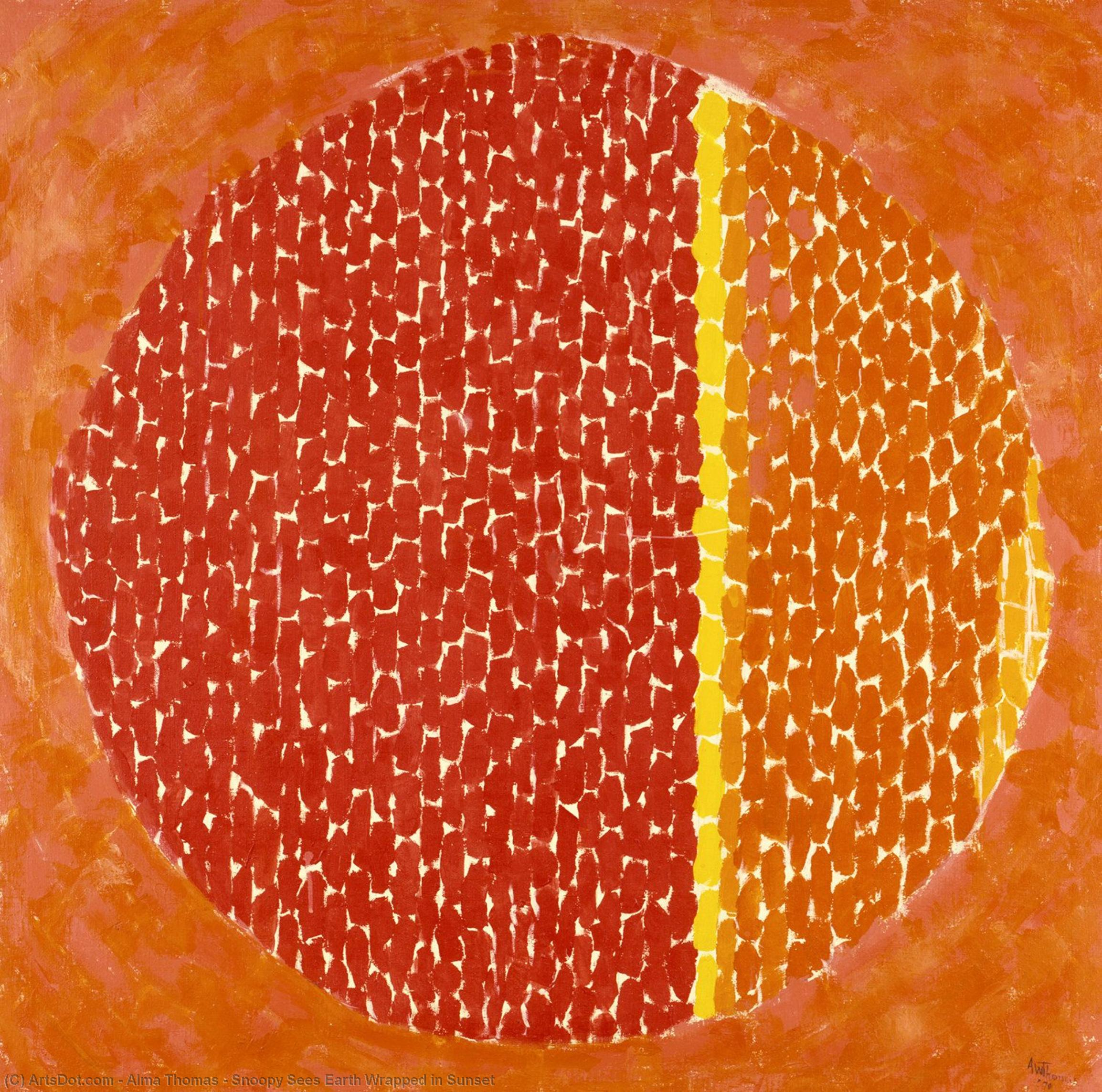 Snoopy Sees Earth Wrapped in Sunset, 1970 by Alma Thomas (1891-1978, United States) | Museum Quality Reproductions | ArtsDot.com