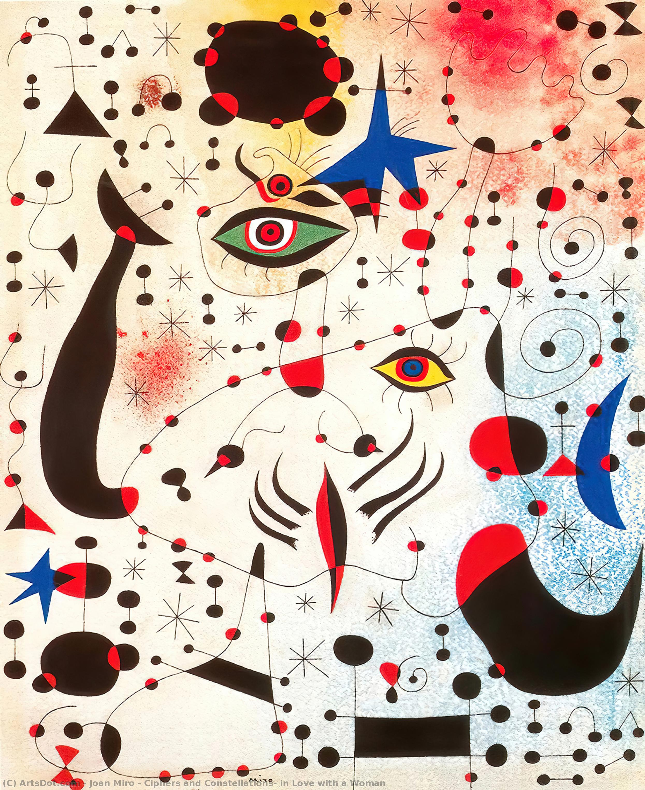 Ciphers and Constellations, in Love with a Woman, 1941 by Joan Miro (1893-1937, Spain) | Museum Quality Copies Joan Miro | ArtsDot.com