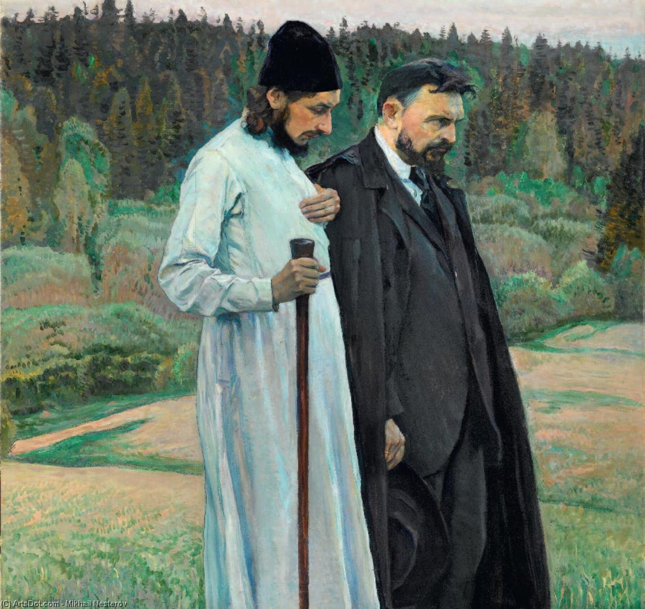 Philosopher, Oil by Mikhail Nesterov (1862-1942, Russia)