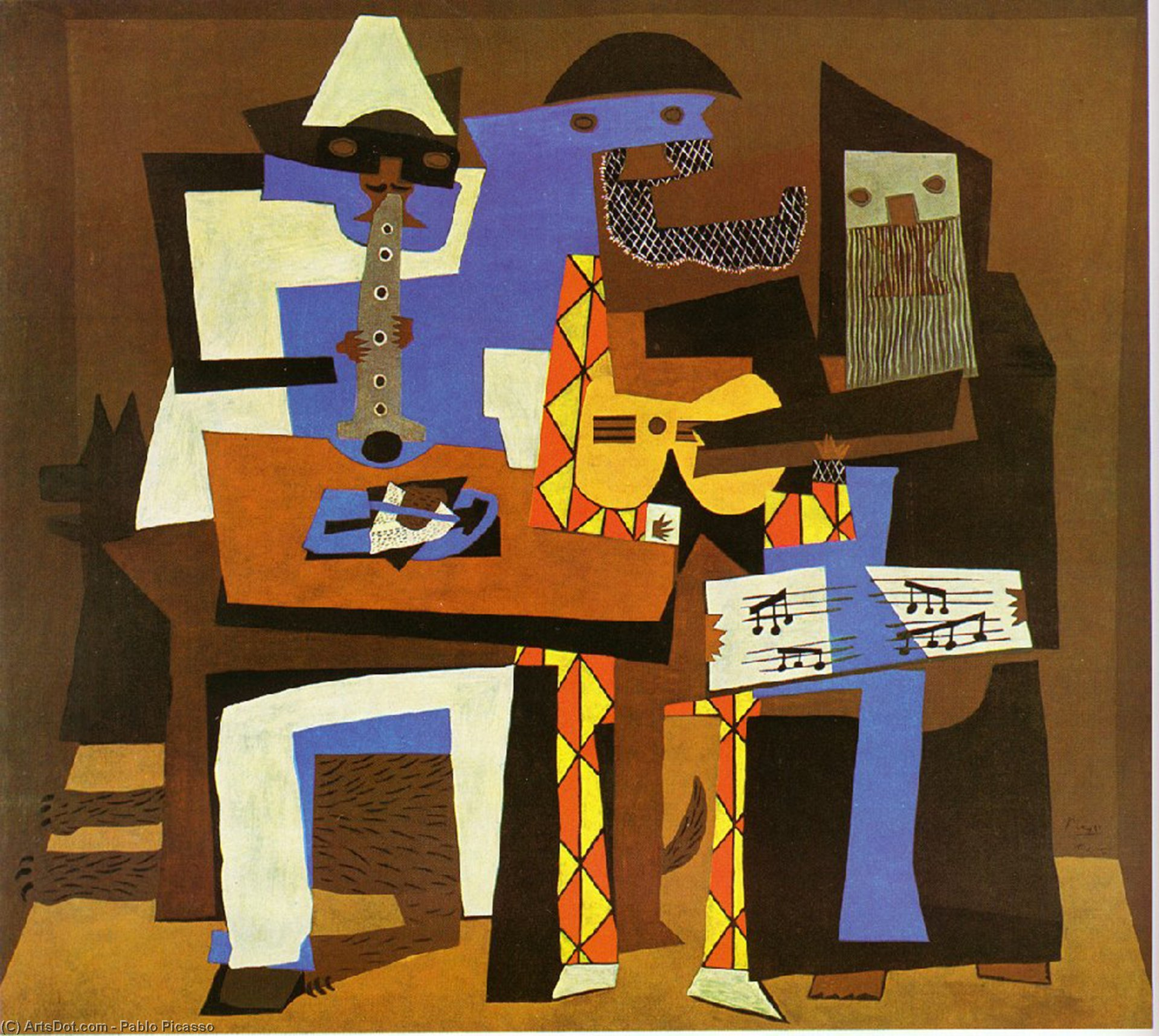 Order Painting Copy : Three Musicians, 1921 by Pablo Picasso (1881-1973, Spain) | ArtsDot.com