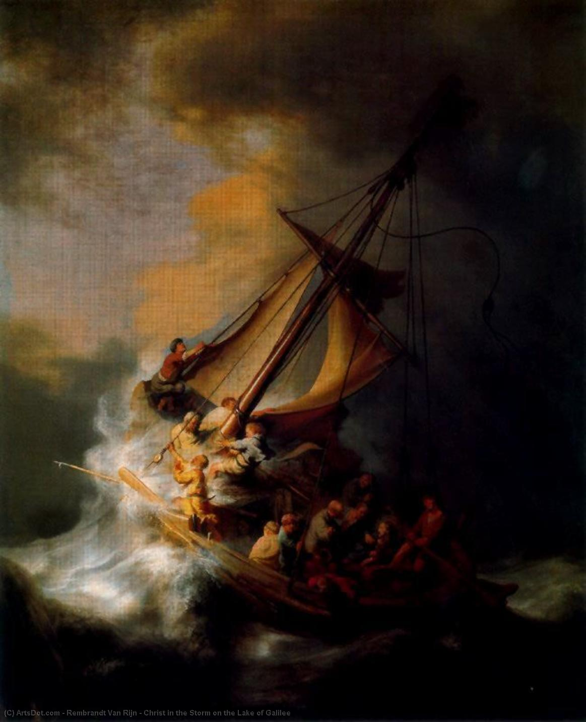 Order Art Reproductions | Christ in the Storm on the Lake of Galilee by Rembrandt Van Rijn (1606-1669, Netherlands) | ArtsDot.com