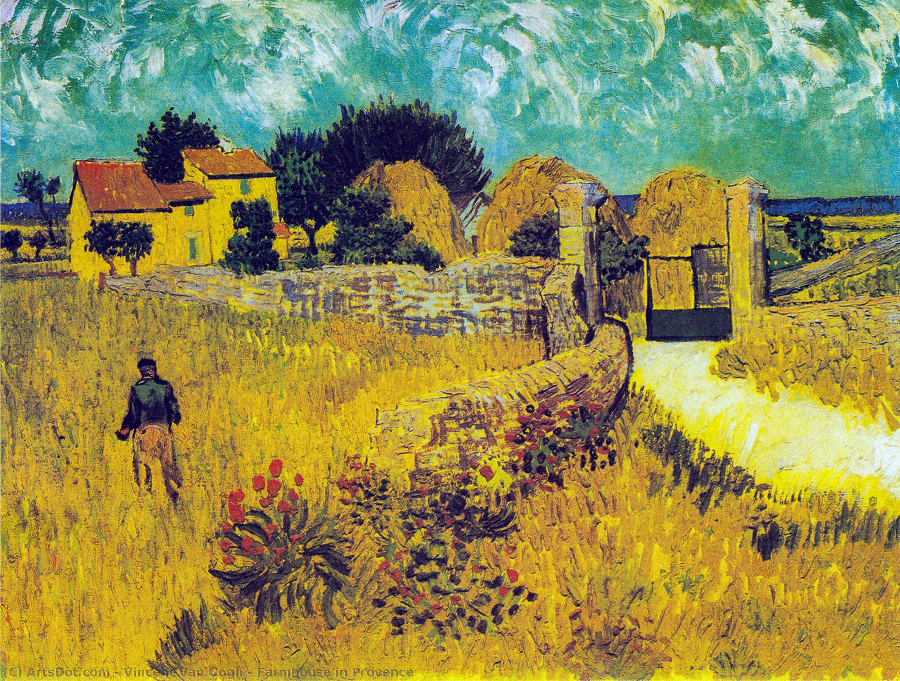 Farmhouse in Provence, 1888 by Vincent Van Gogh (1853-1890, Netherlands) | Paintings Reproductions Vincent Van Gogh | ArtsDot.com