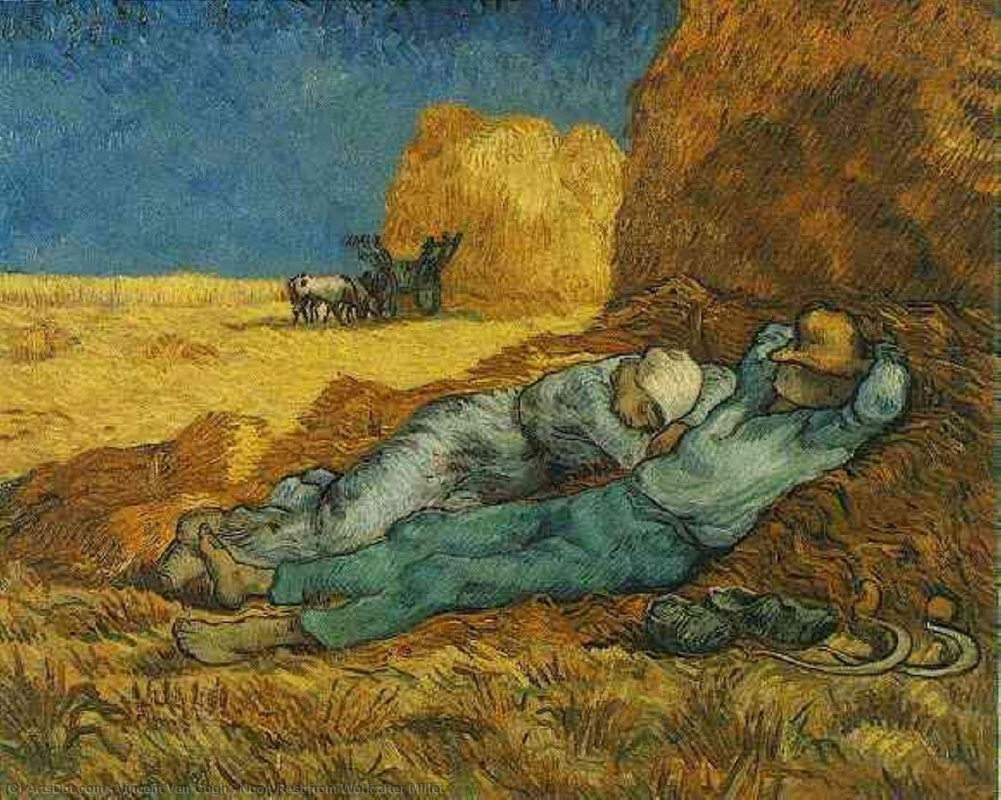 Noon Rest from Work after Millet, 1890 by Vincent Van Gogh (1853-1890, Netherlands) | Reproductions Vincent Van Gogh | ArtsDot.com