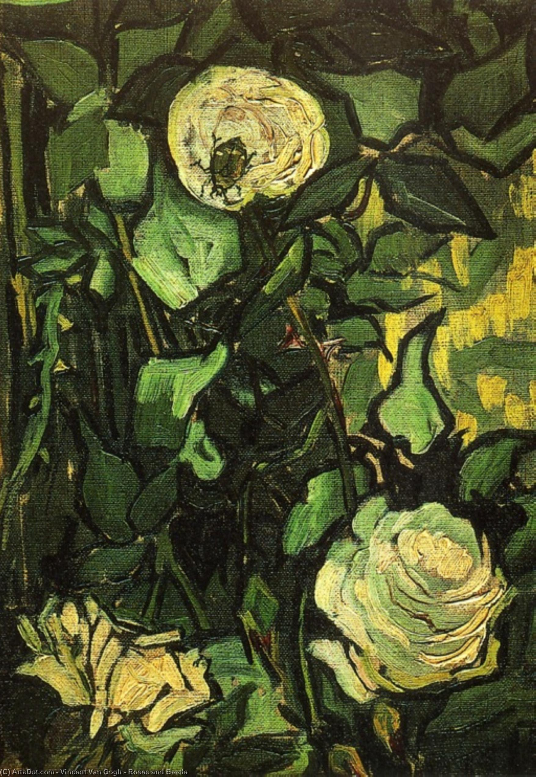 Roses and Beetle, 1890 by Vincent Van Gogh (1853-1890, Netherlands) | Museum Art Reproductions | ArtsDot.com