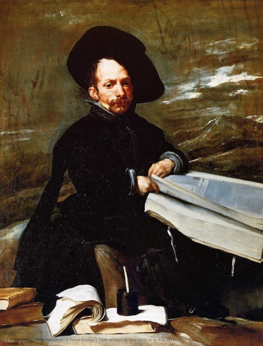 A Dwarf Holding a Tome on His Lap (Don Diego de Acedo, el Primo) by Diego Velazquez (1599-1660, Spain) | Oil Painting | ArtsDot.com