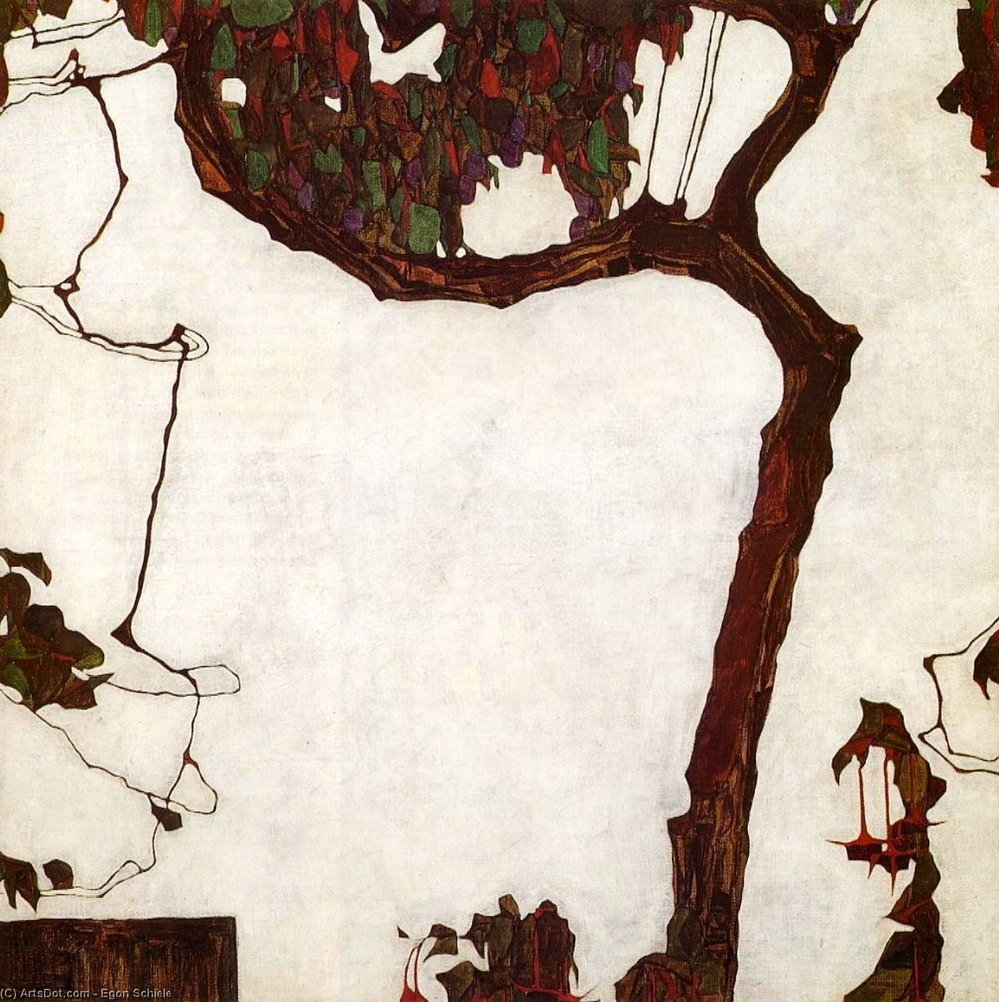 Autumn Tree with Fuchsias, 1909 by Egon Schiele (1890-1918, Croatia) | Museum Quality Reproductions | ArtsDot.com
