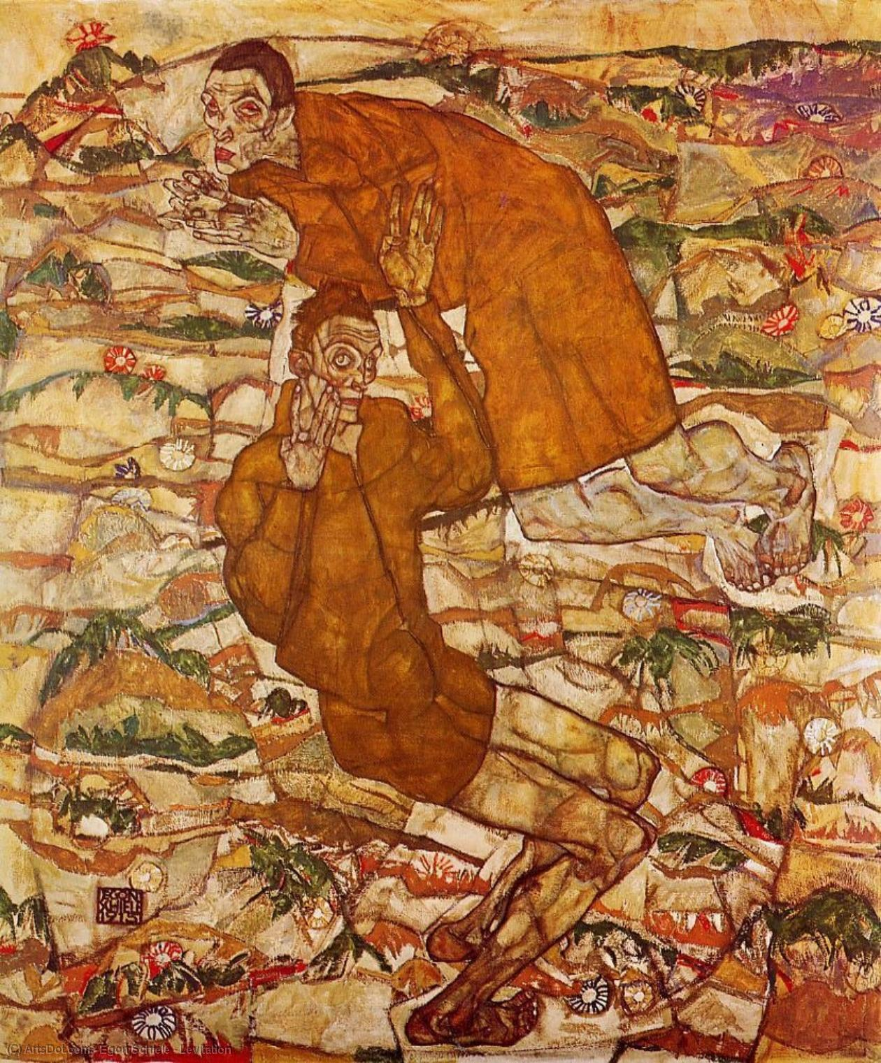 Levitation, 1915 by Egon Schiele (1890-1918, Croatia) | Museum Quality Reproductions | ArtsDot.com