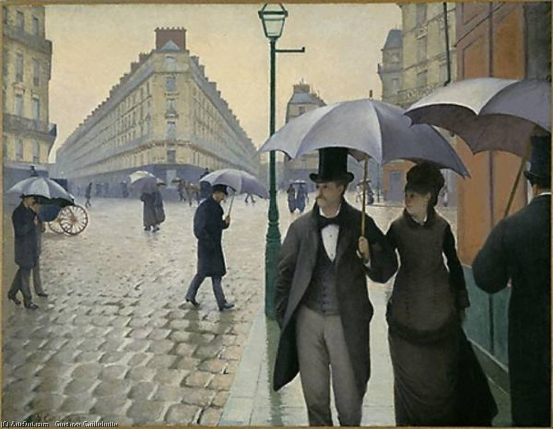 Paris street, Rainy Day, 1877 by Gustave Caillebotte (1848-1894, France) | Painting Copy | ArtsDot.com