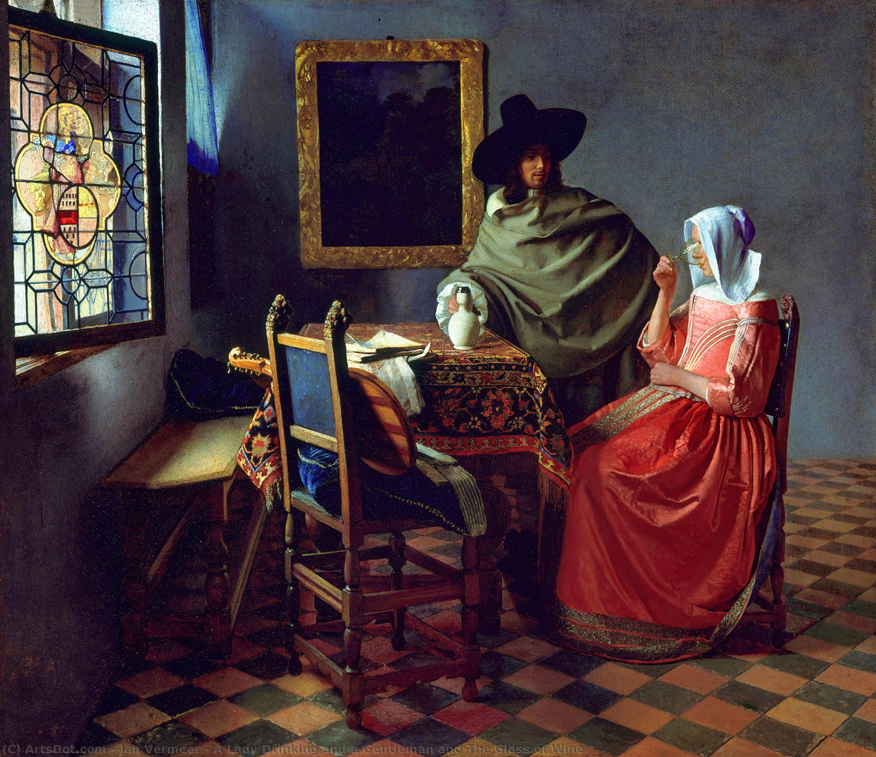 A Lady Drinking and a Gentleman and The Glass of Wine, 1660 by Jan Vermeer (1632-1675, Netherlands) | Art Reproductions Jan Vermeer | ArtsDot.com