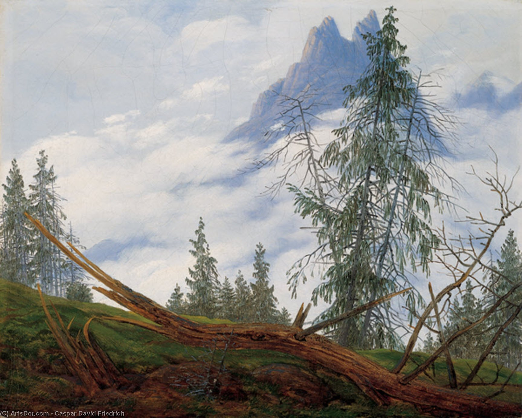 Mountain Peak with Drifting Clouds by Caspar David Friedrich (1774-1840, Germany) | Museum Quality Copies Caspar David Friedrich | ArtsDot.com
