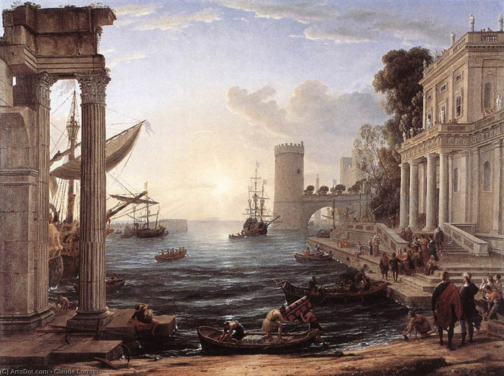 Seaport with the Embarkation of the Queen of Sheba, Oil On Canvas by Claude Lorrain (Claude Gellée)