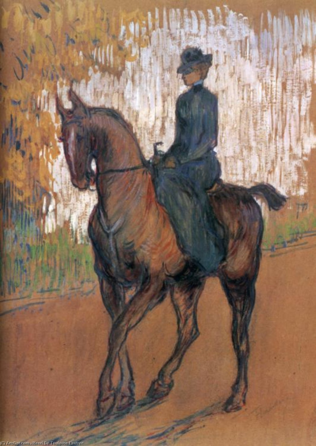 Amazone, Oil by Henri De Toulouse Lautrec (1864-1901, France)