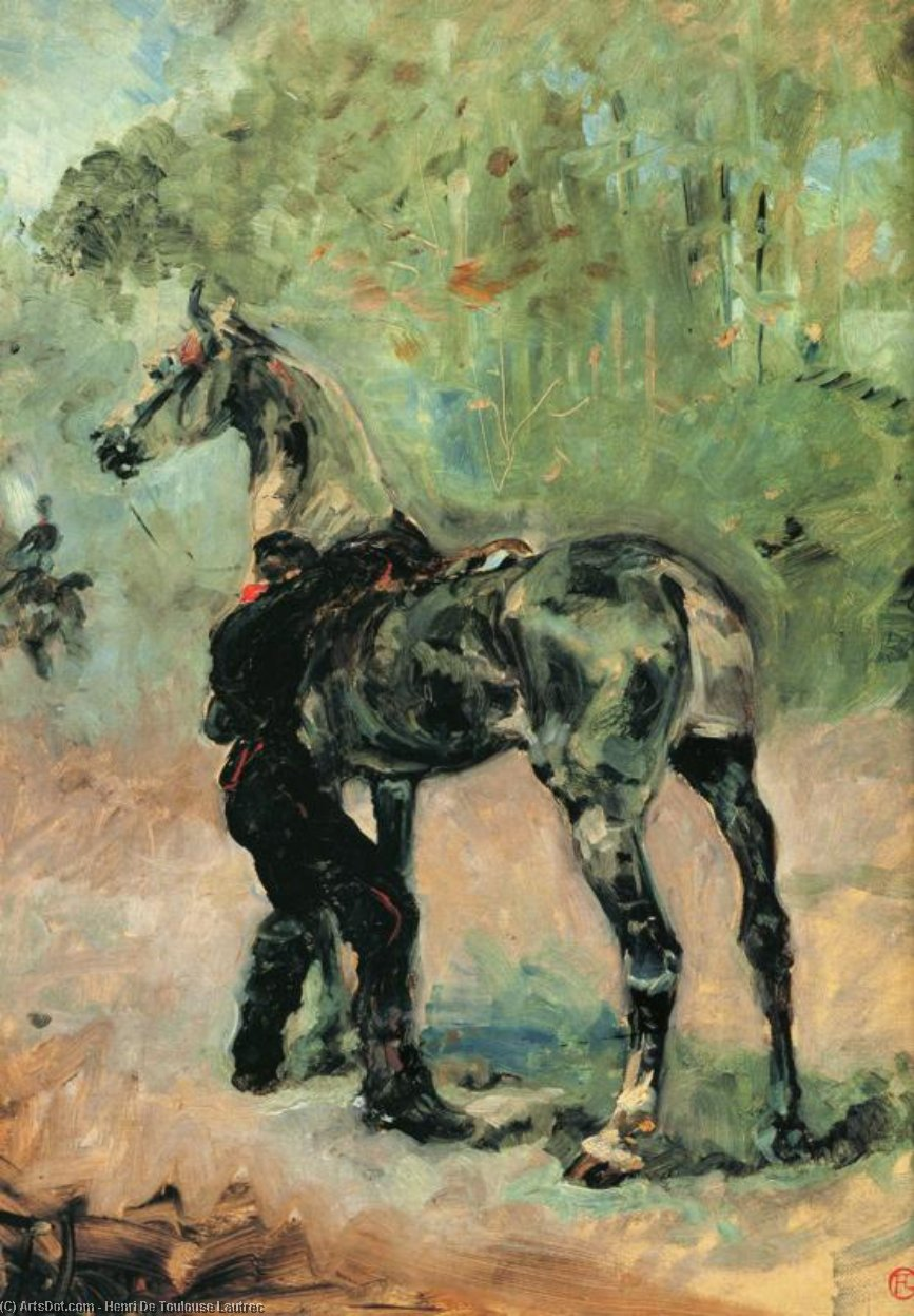 Artilleryman Saddling His Horse, Oil On Canvas by Henri De Toulouse Lautrec (1864-1901, France)