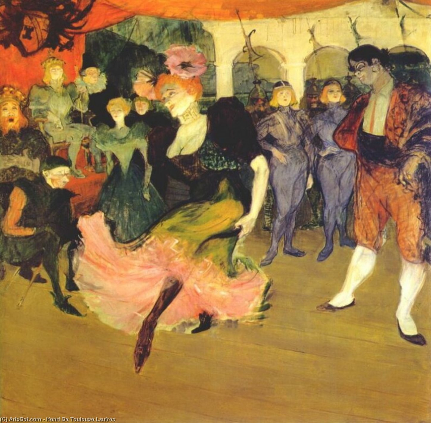 Marcelle Lender Dancing the Bolero in Chilperic, Oil by Henri De Toulouse Lautrec (1864-1901, France)