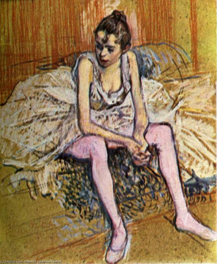 Seated Dancer, Oil by Henri De Toulouse Lautrec (1864-1901, France)