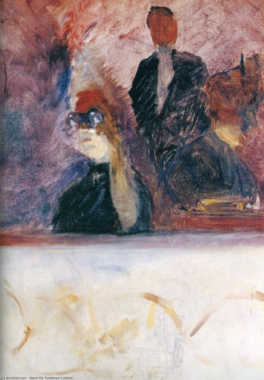 The Theater Box with the Gilded Mask, Oil On Canvas by Henri De Toulouse Lautrec (1864-1901, France)