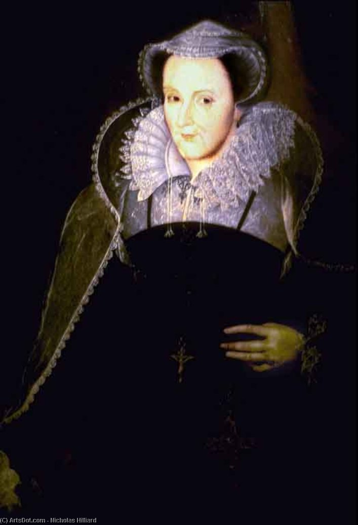 Mary Queen of Scots by Nicholas Hilliard (1577-1619, United Kingdom) | Paintings Reproductions Nicholas Hilliard | ArtsDot.com