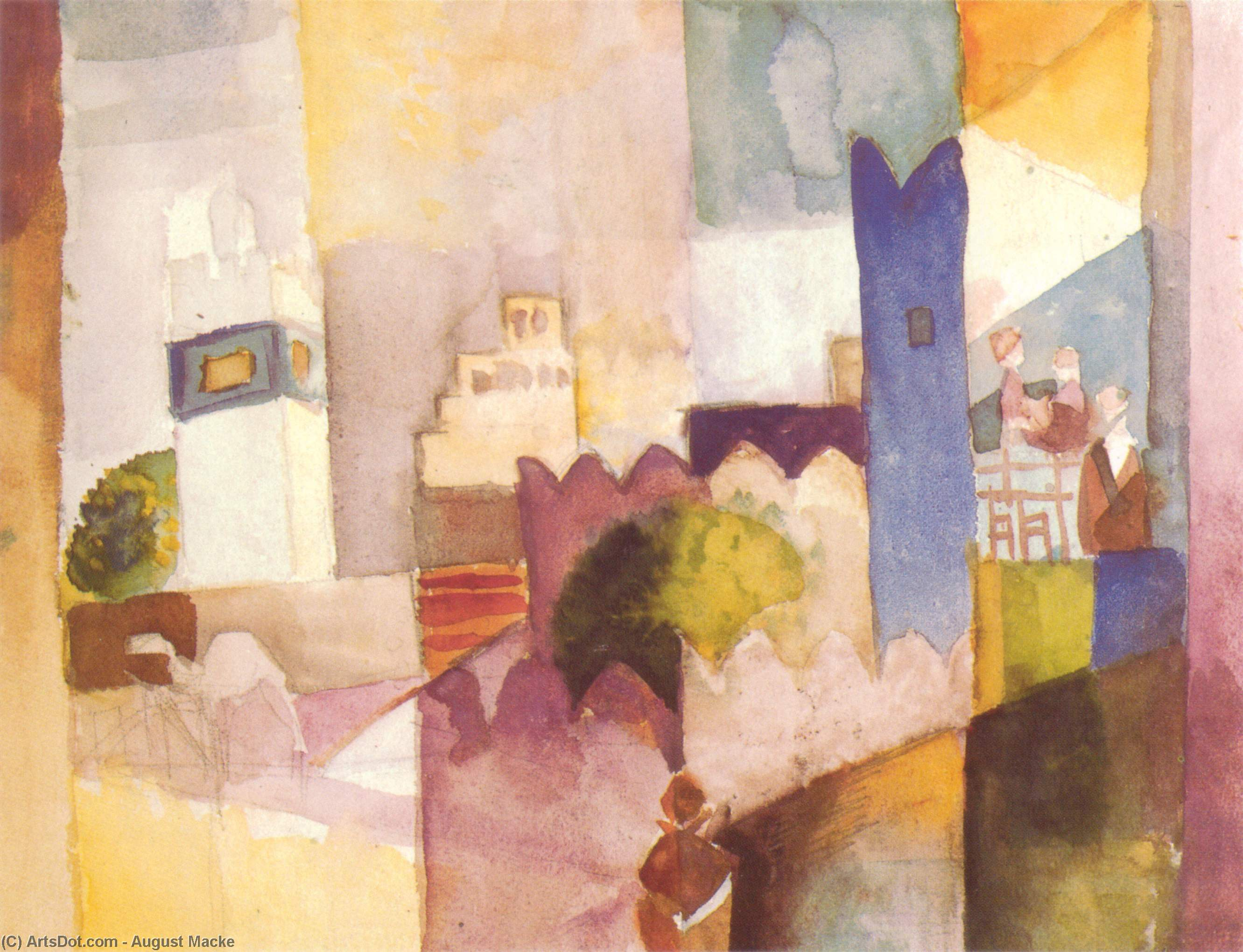 Kairuan III, 1914 by August Macke (1887-1914, Germany) | Museum Quality Reproductions | ArtsDot.com