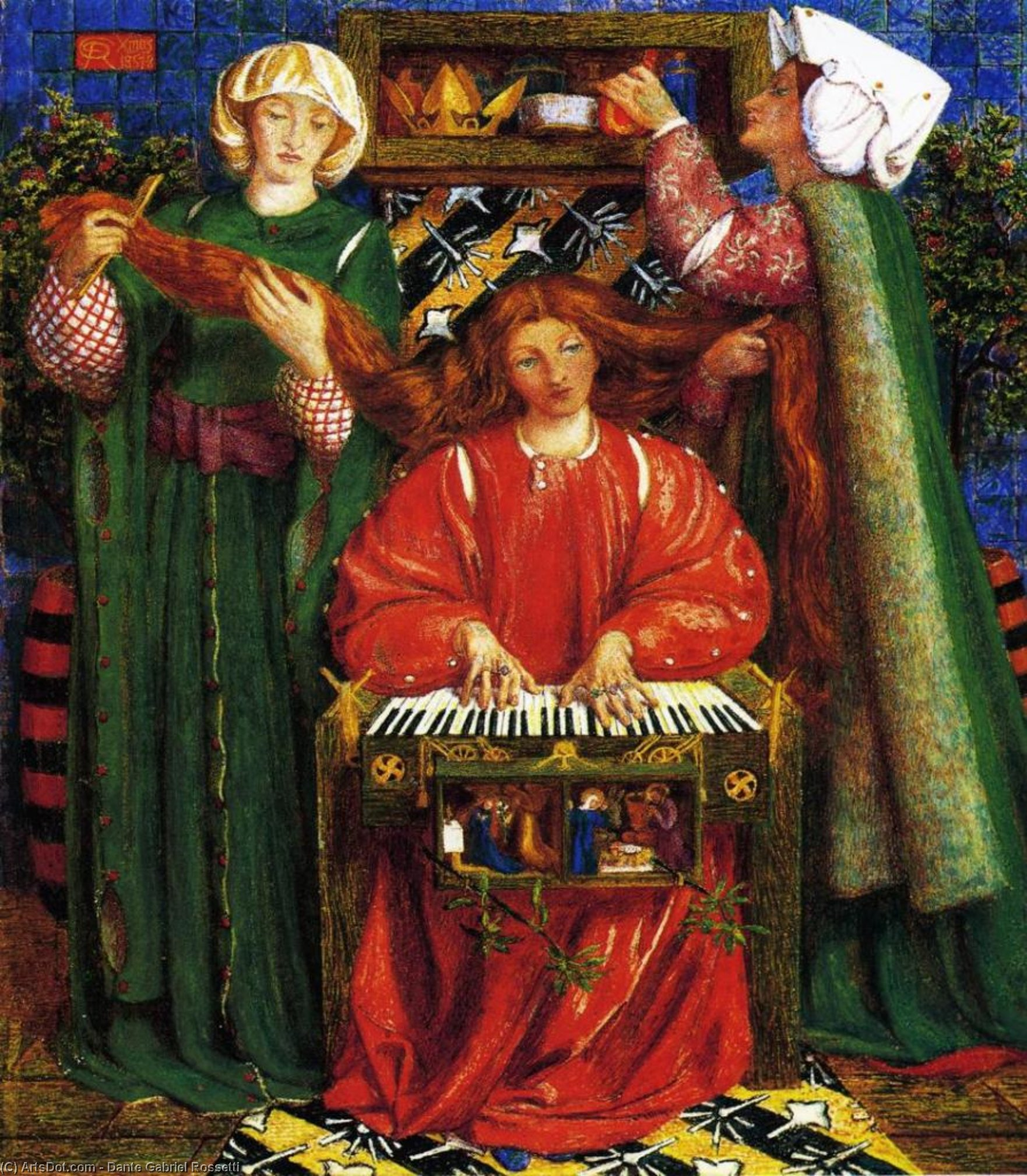 A Christmas Carol 1, Oil by Dante Gabriel Rossetti (1828-1882, United Kingdom)