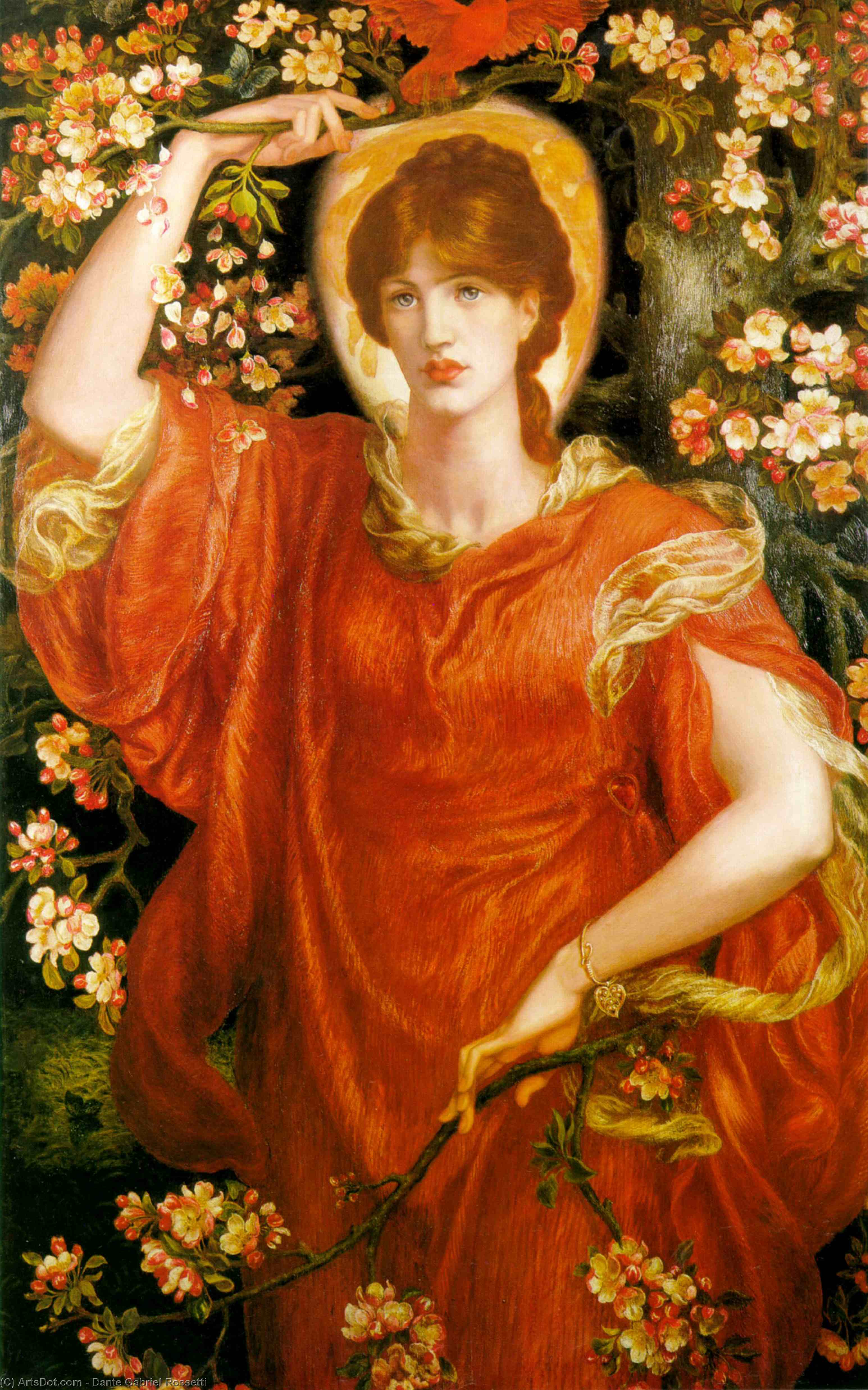 A Vision of Fiammetta, Oil On Canvas by Dante Gabriel Rossetti (1828-1882, United Kingdom)