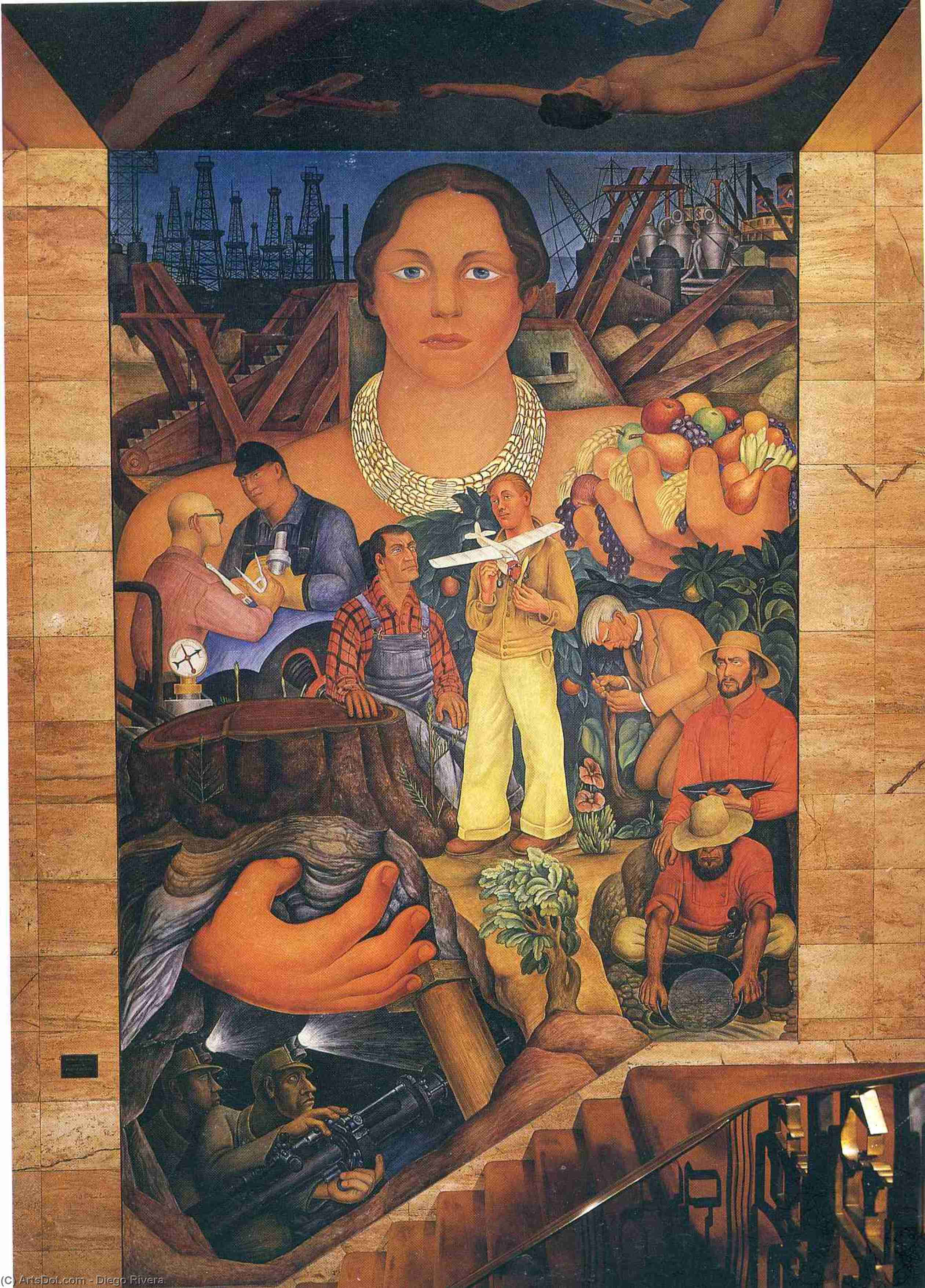 Allegory of California, Frescoes by Diego Rivera (1886-1957, Mexico)