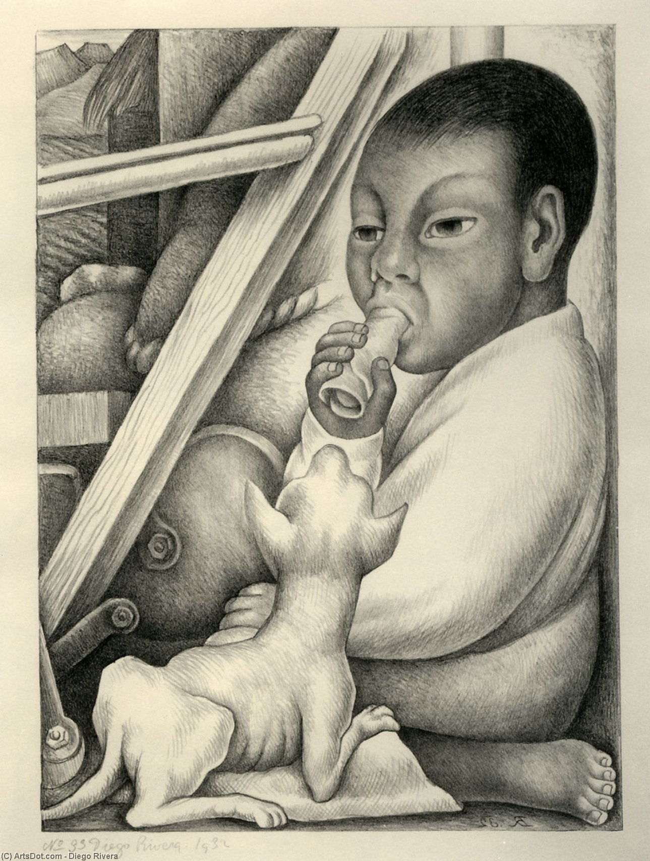 Boy and Dog, Oil by Diego Rivera (1886-1957, Mexico)