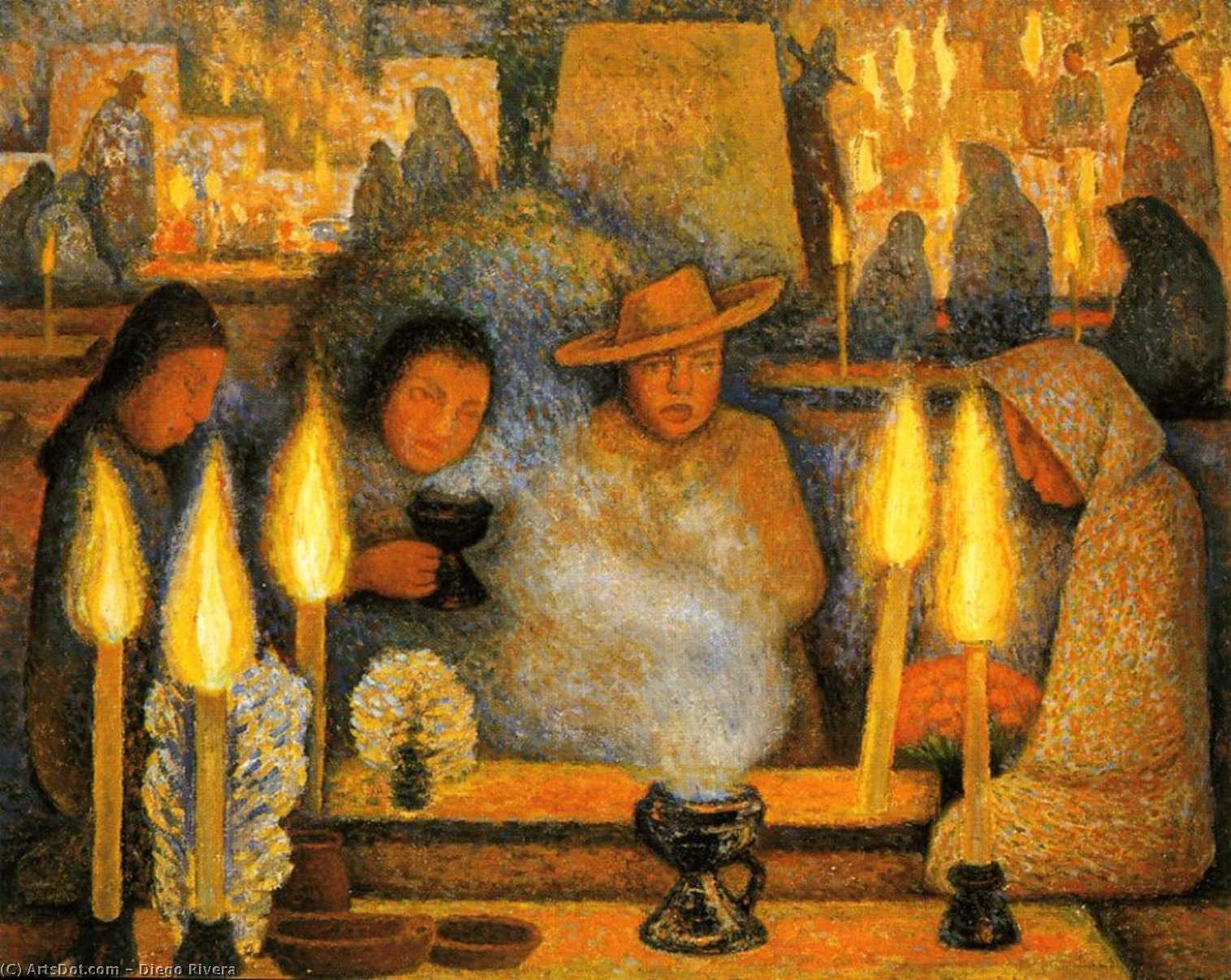 Day of the Dead, Oil by Diego Rivera (1886-1957, Mexico)