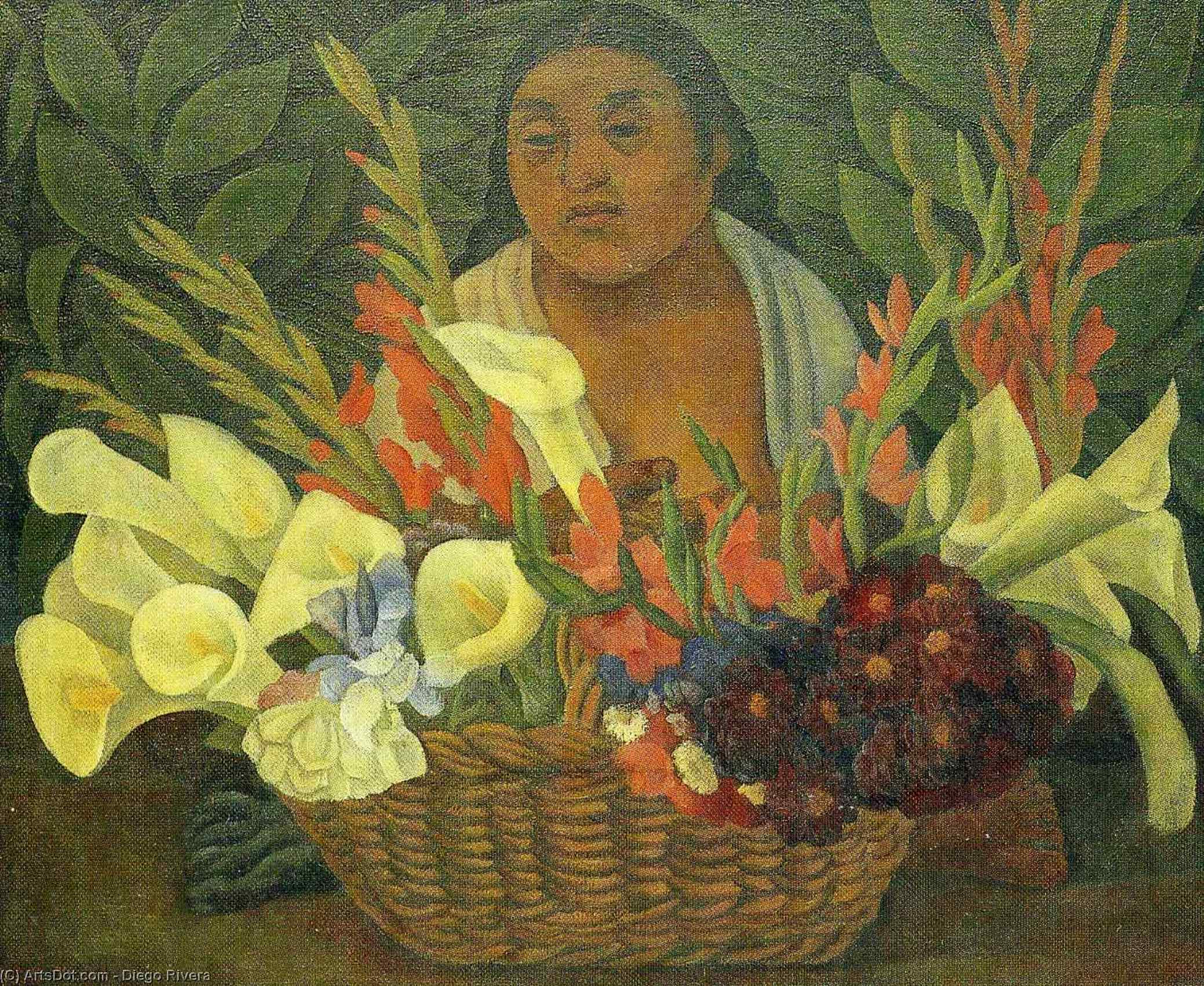Flower Seller 2, Oil by Diego Rivera (1886-1957, Mexico)
