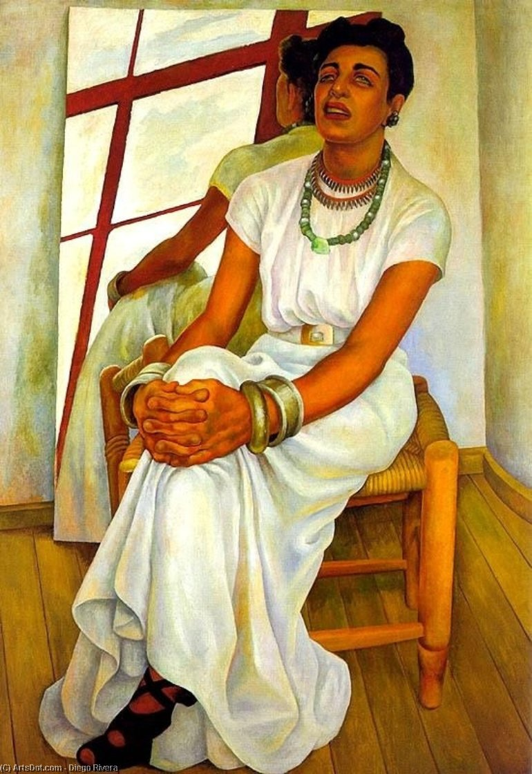 Portrait of Lupe Marin, Oil On Canvas by Diego Rivera (1886-1957, Mexico)