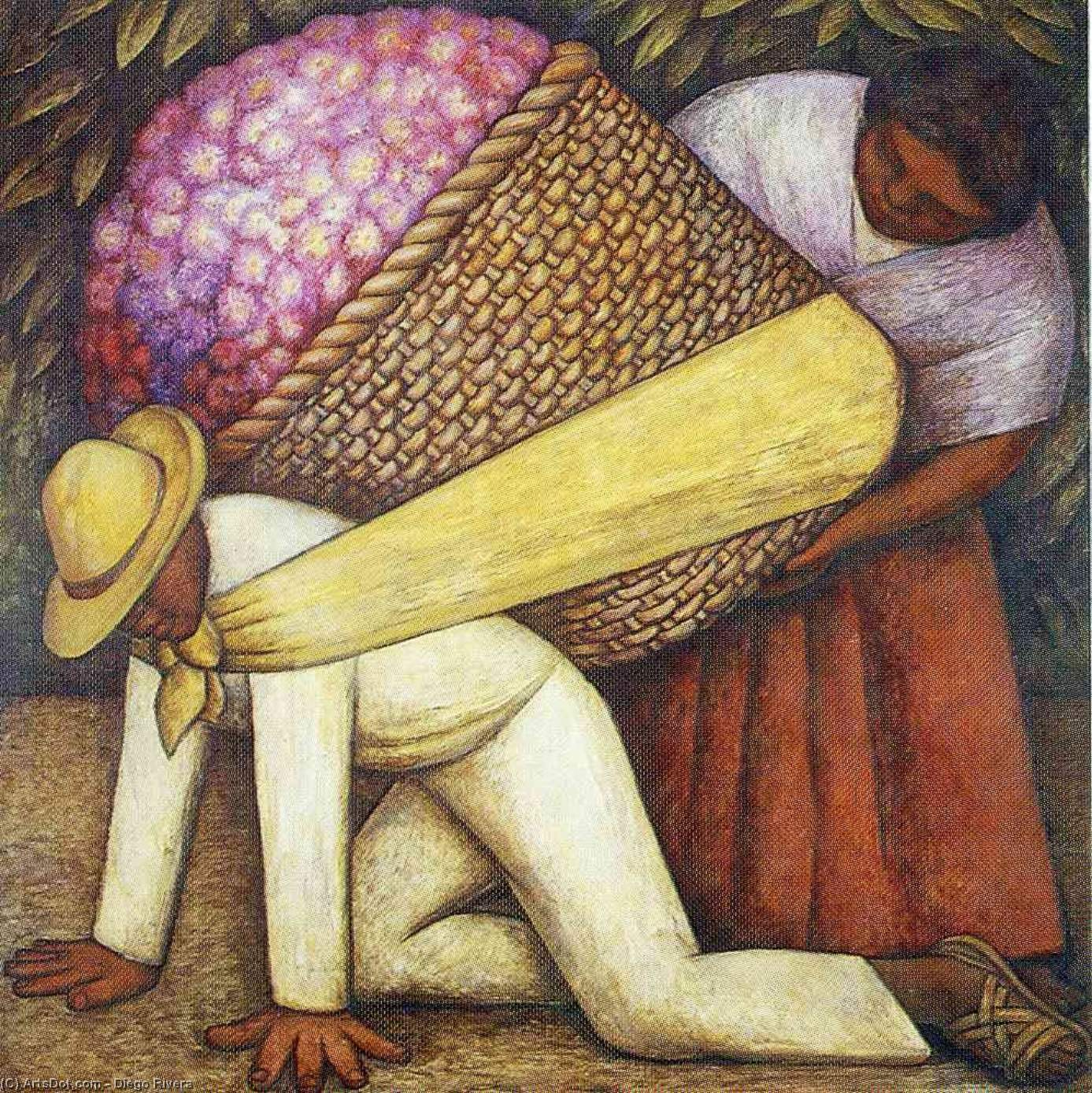 The Flower Carrier, Oil, Painting by Diego Rivera (1886-1957, Mexico)
